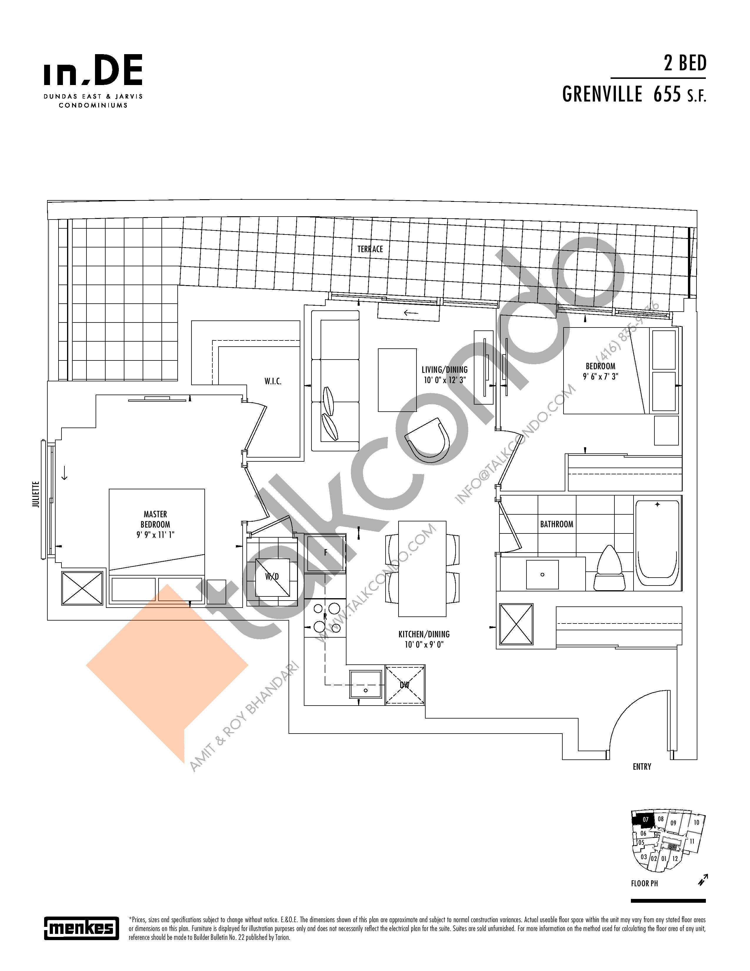 Grenville Floor Plan at in.DE Condos - 655 sq.ft