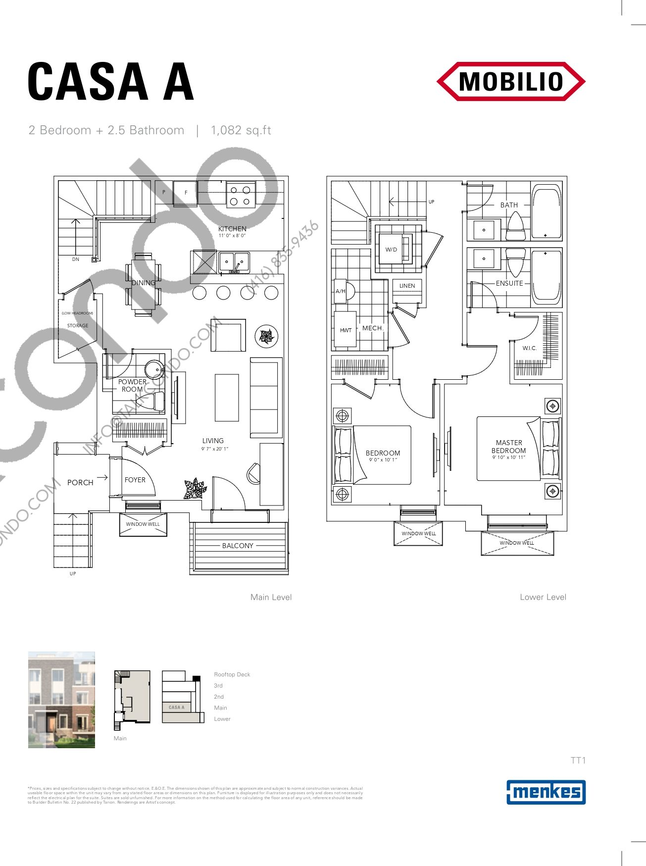 Casa A - Promenade Collection Floor Plan at Mobilio Townhomes - 1082 sq.ft