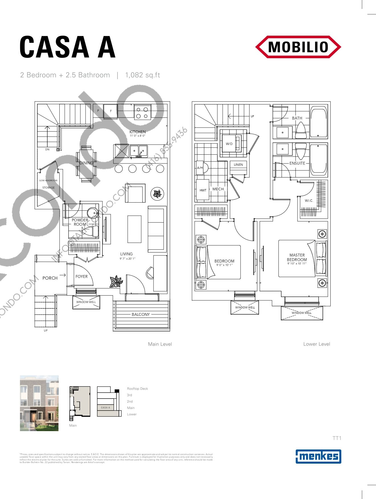 Casa A - Courtyard Collection Floor Plan at Mobilio Townhomes - 1082 sq.ft