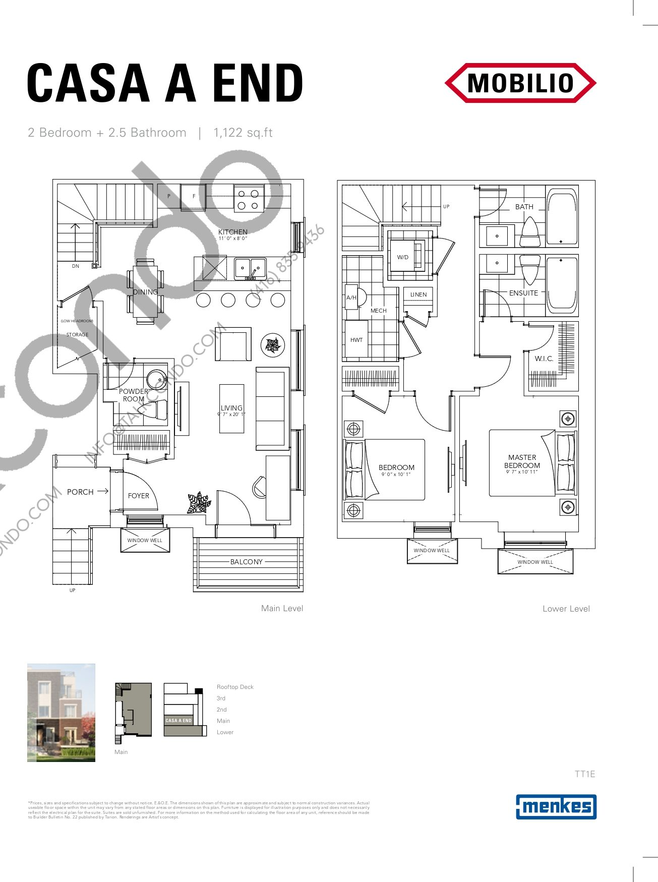 Casa A End - Deluxe Collection Floor Plan at Mobilio Townhomes - 1122 sq.ft