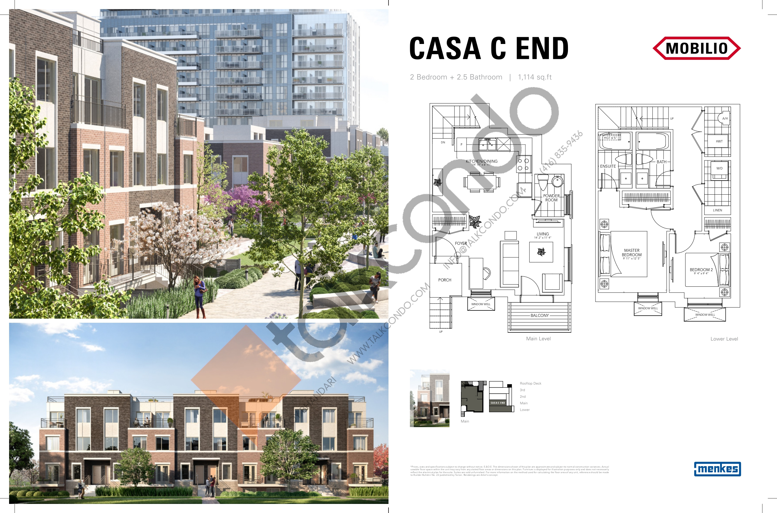 Casa C End - Deluxe Collection Floor Plan at Mobilio Townhomes - 1114 sq.ft