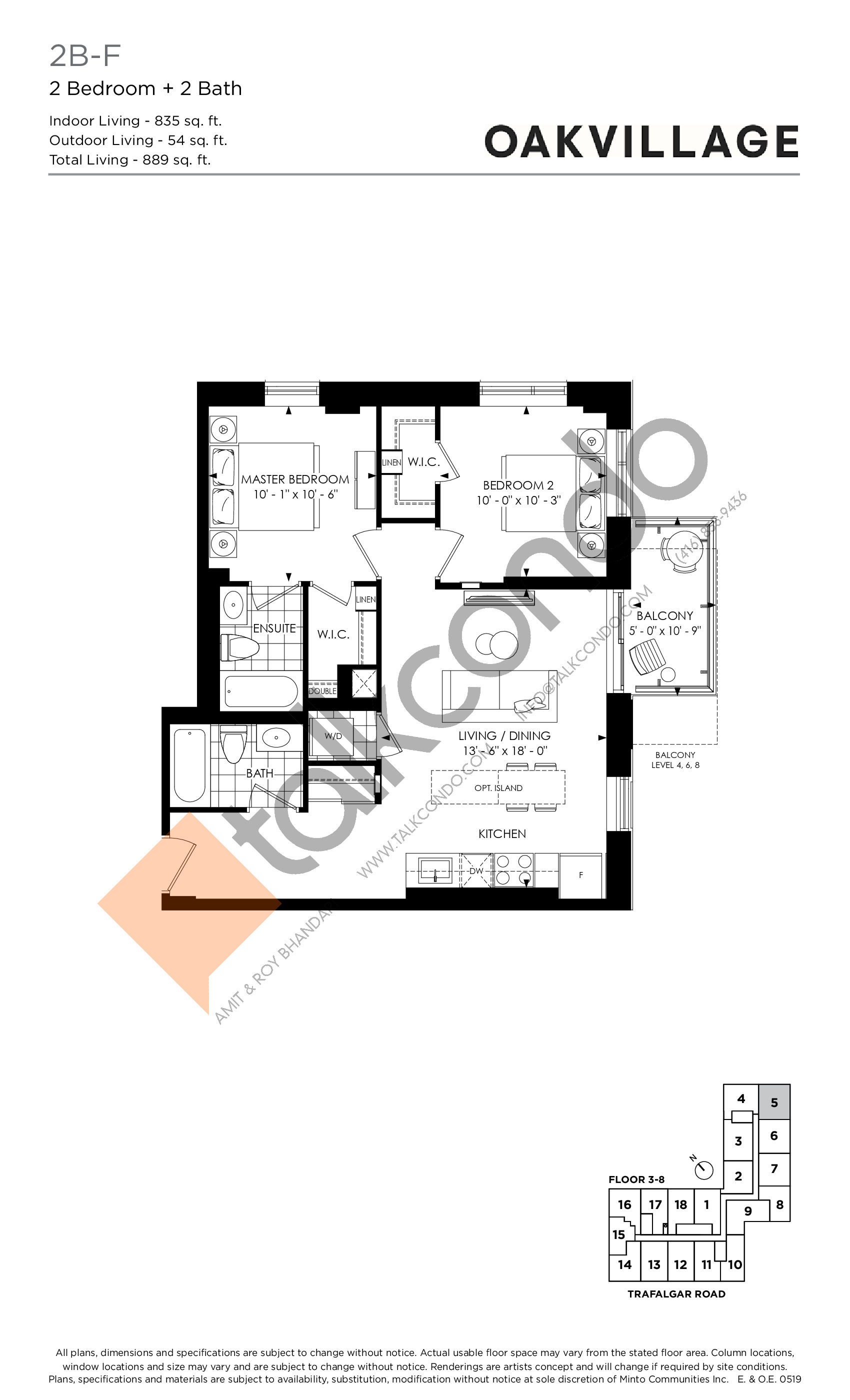 2B-F (Podium) Floor Plan at Oakvillage Phase 2 - 835 sq.ft