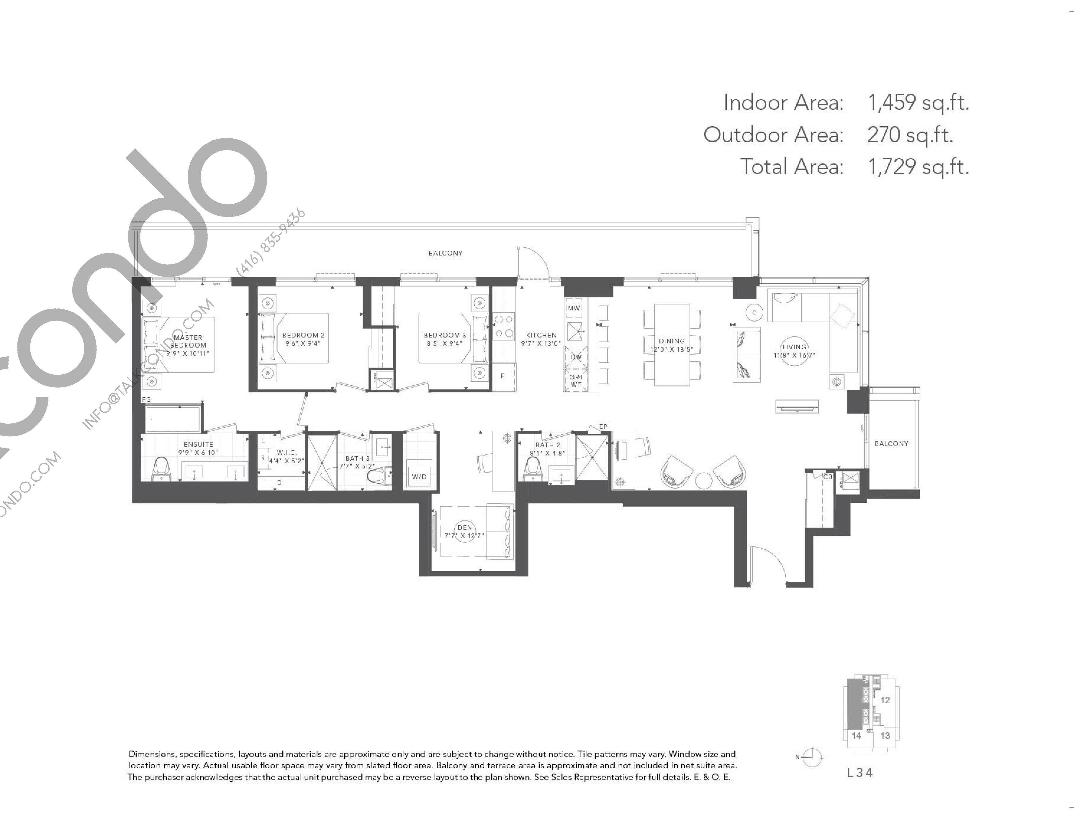 Walnut Floor Plan at T1 at M2M Condos - 1459 sq.ft