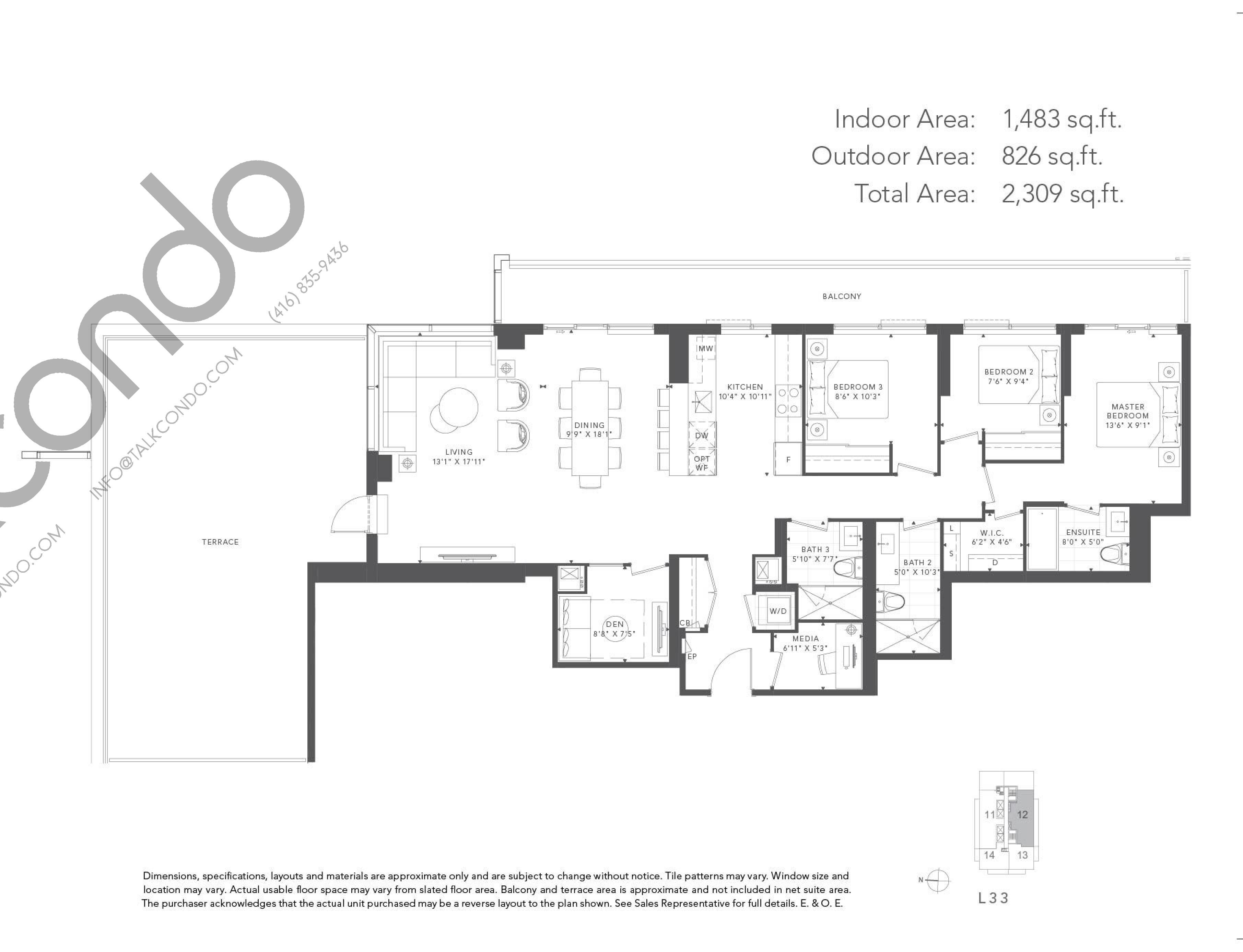 Rowan Floor Plan at T1 at M2M Condos - 1483 sq.ft