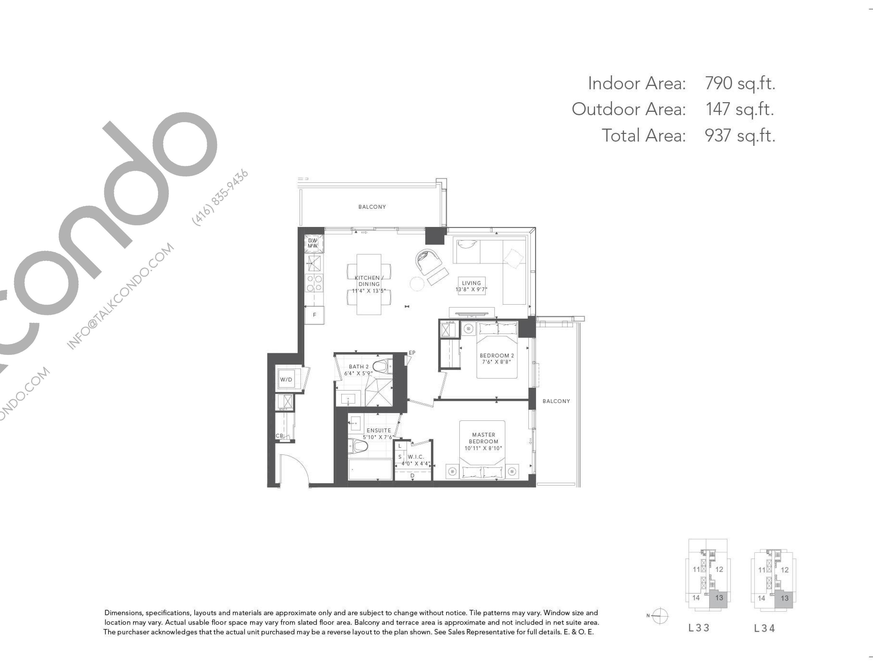 Cedar Floor Plan at T1 at M2M Condos - 790 sq.ft
