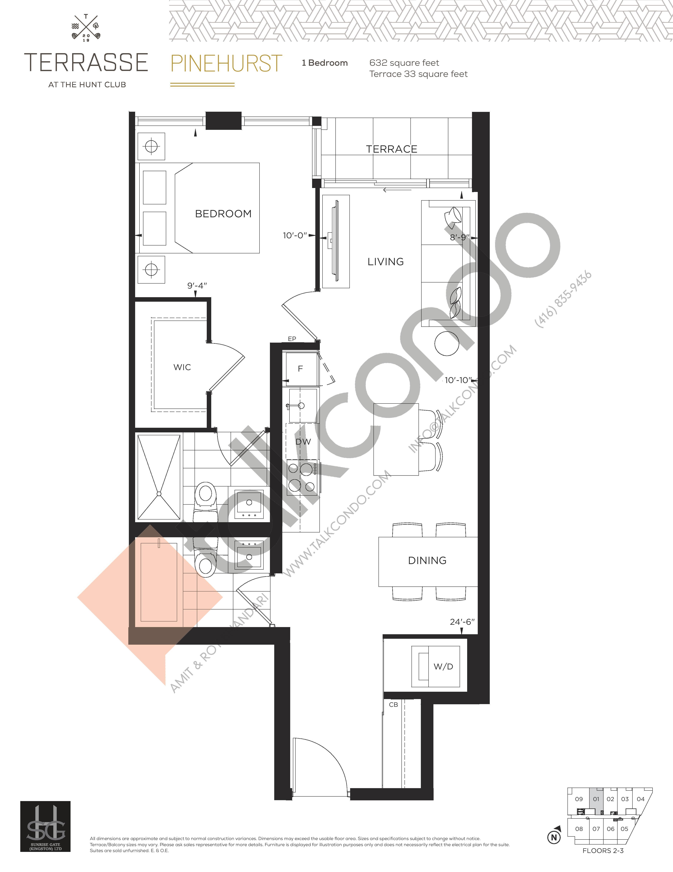 Pinehurst Floor Plan at Terrasse Condos at The Hunt Club - 632 sq.ft