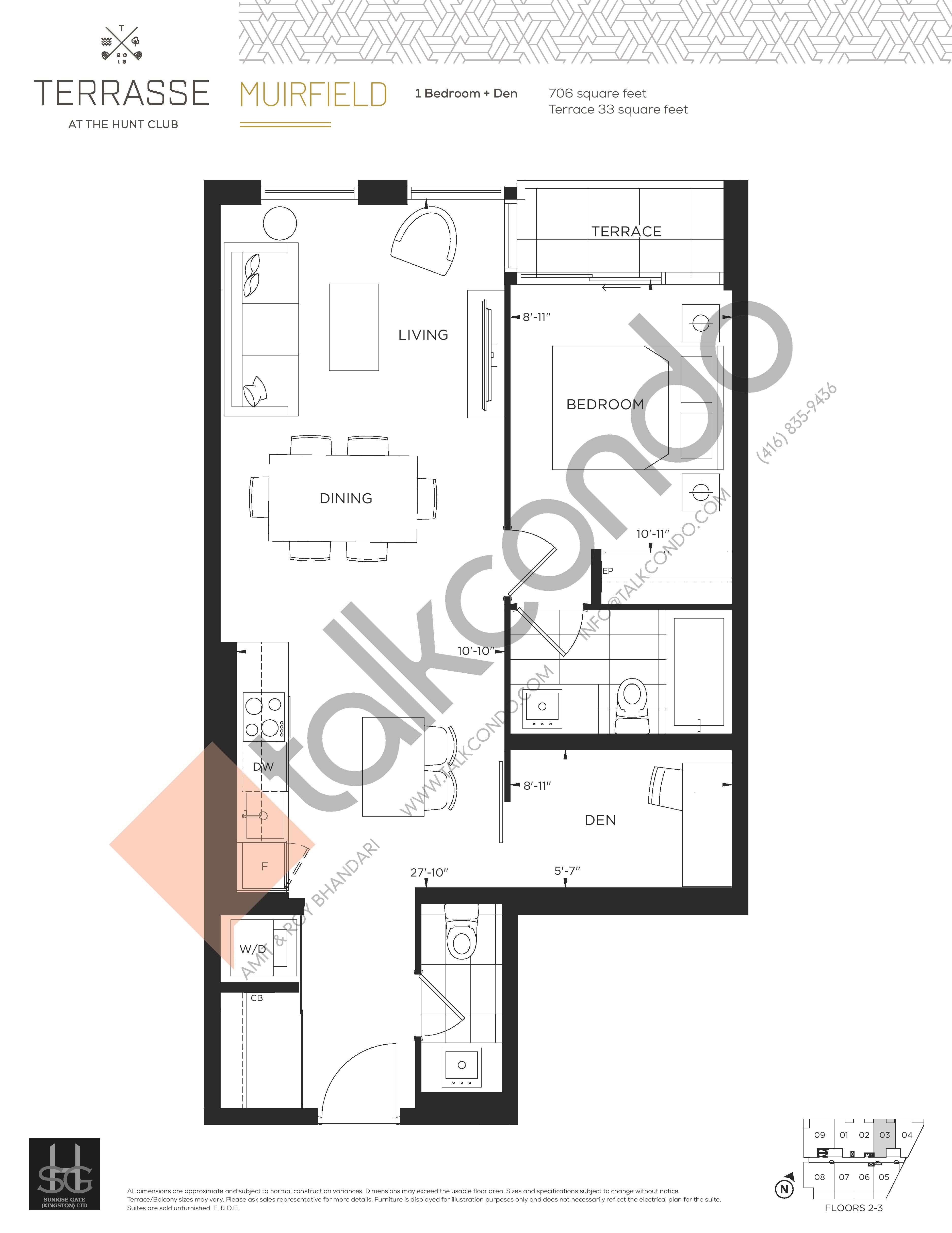 Muirfield Floor Plan at Terrasse Condos at The Hunt Club - 706 sq.ft