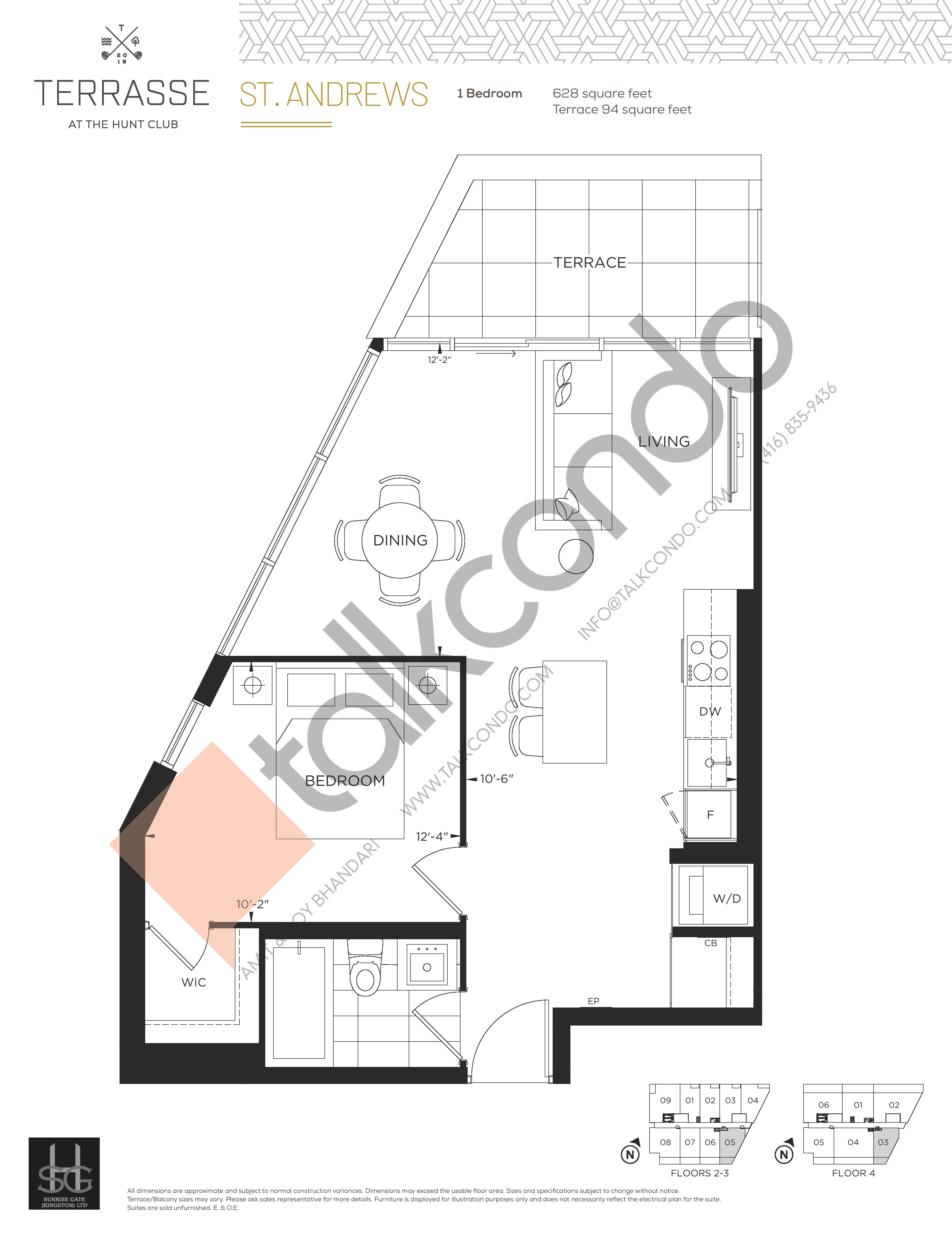 St. Andrews Floor Plan at Terrasse Condos at The Hunt Club - 628 sq.ft