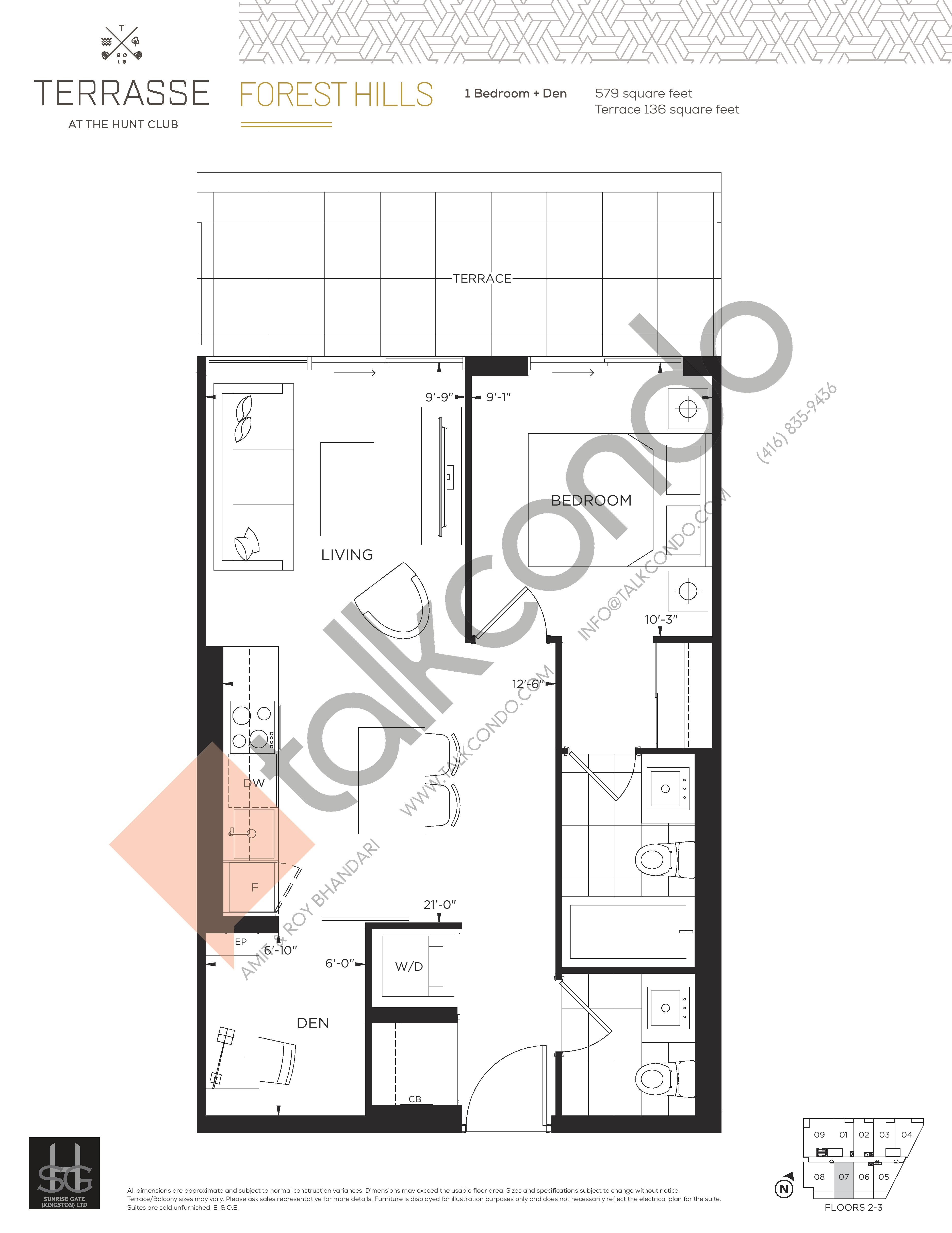 Forest Hills Floor Plan at Terrasse Condos at The Hunt Club - 579 sq.ft