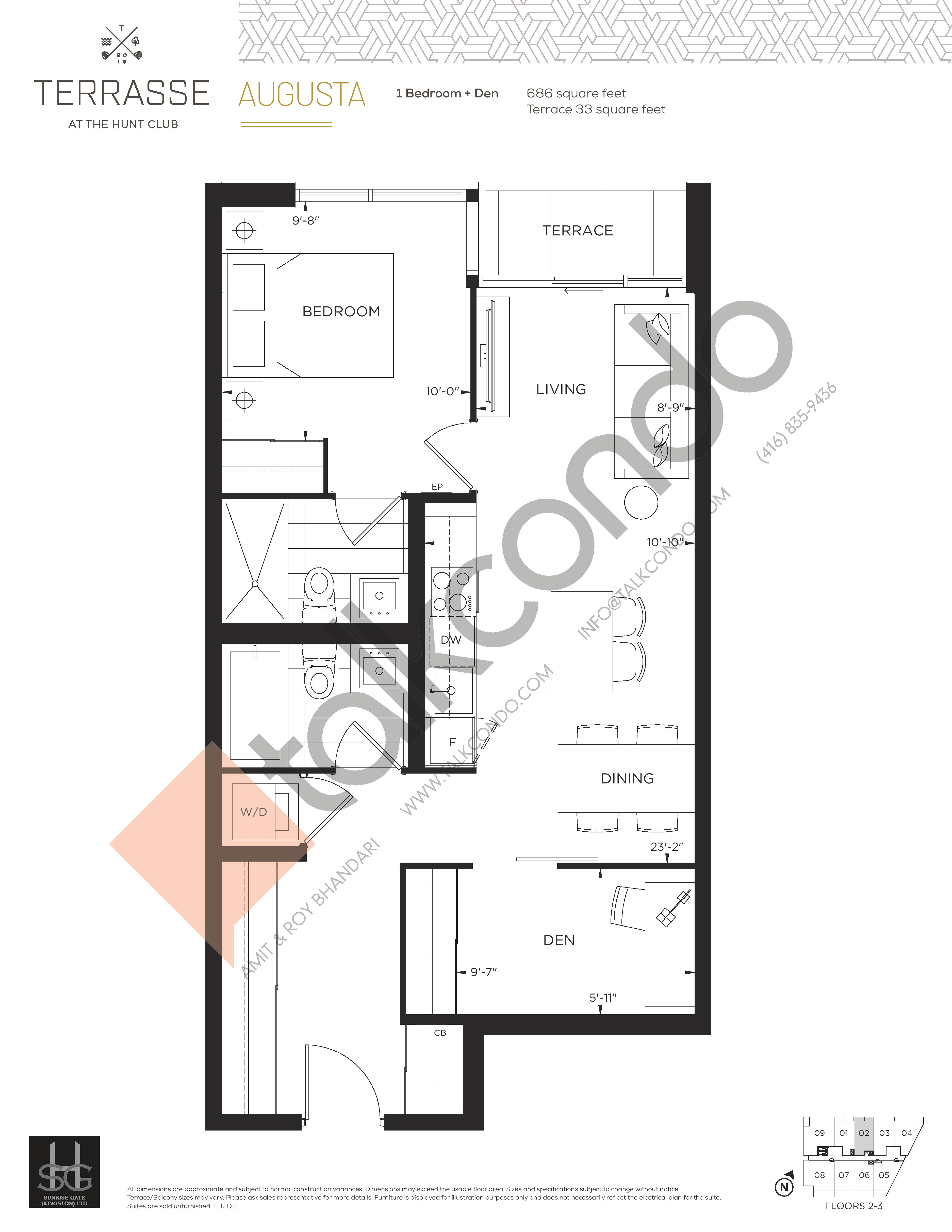 Augusta Floor Plan at Terrasse Condos at The Hunt Club - 686 sq.ft