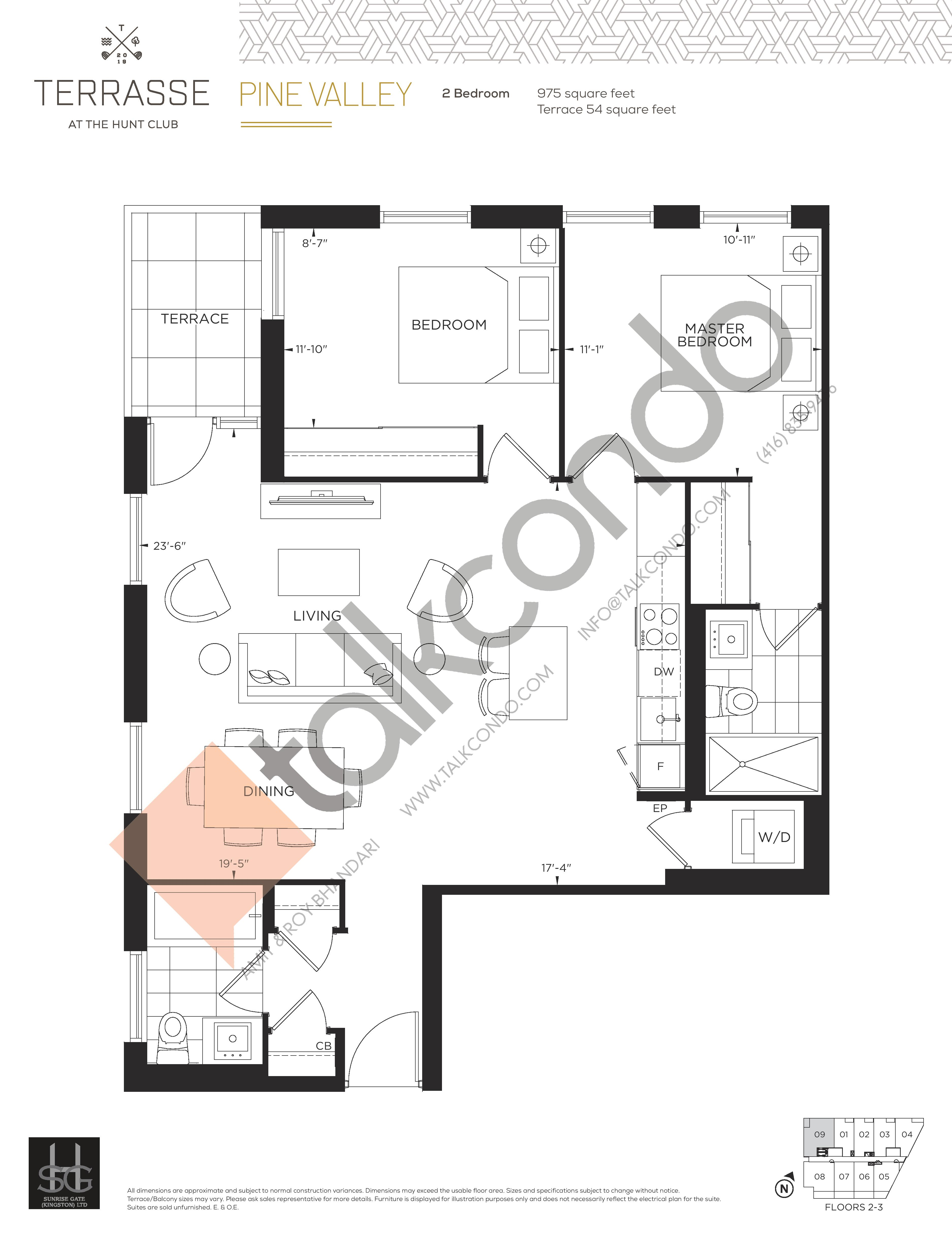 Pine Valley Floor Plan at Terrasse Condos at The Hunt Club - 975 sq.ft