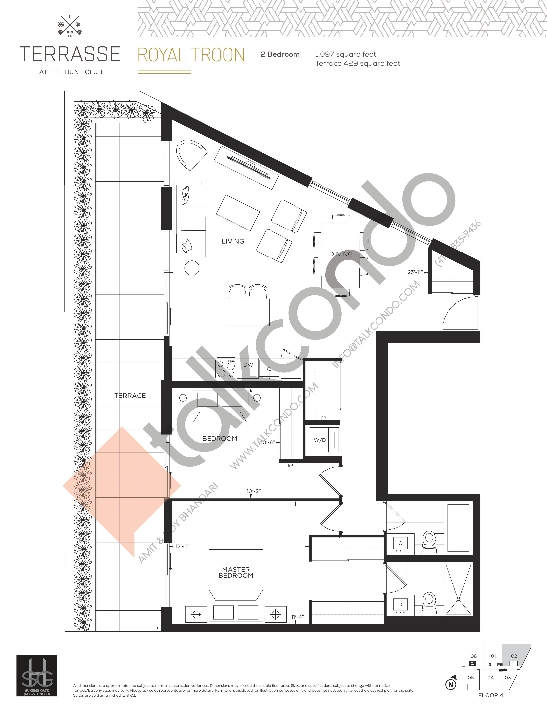 Royal Troon Floor Plan at Terrasse Condos at The Hunt Club - 1097 sq.ft