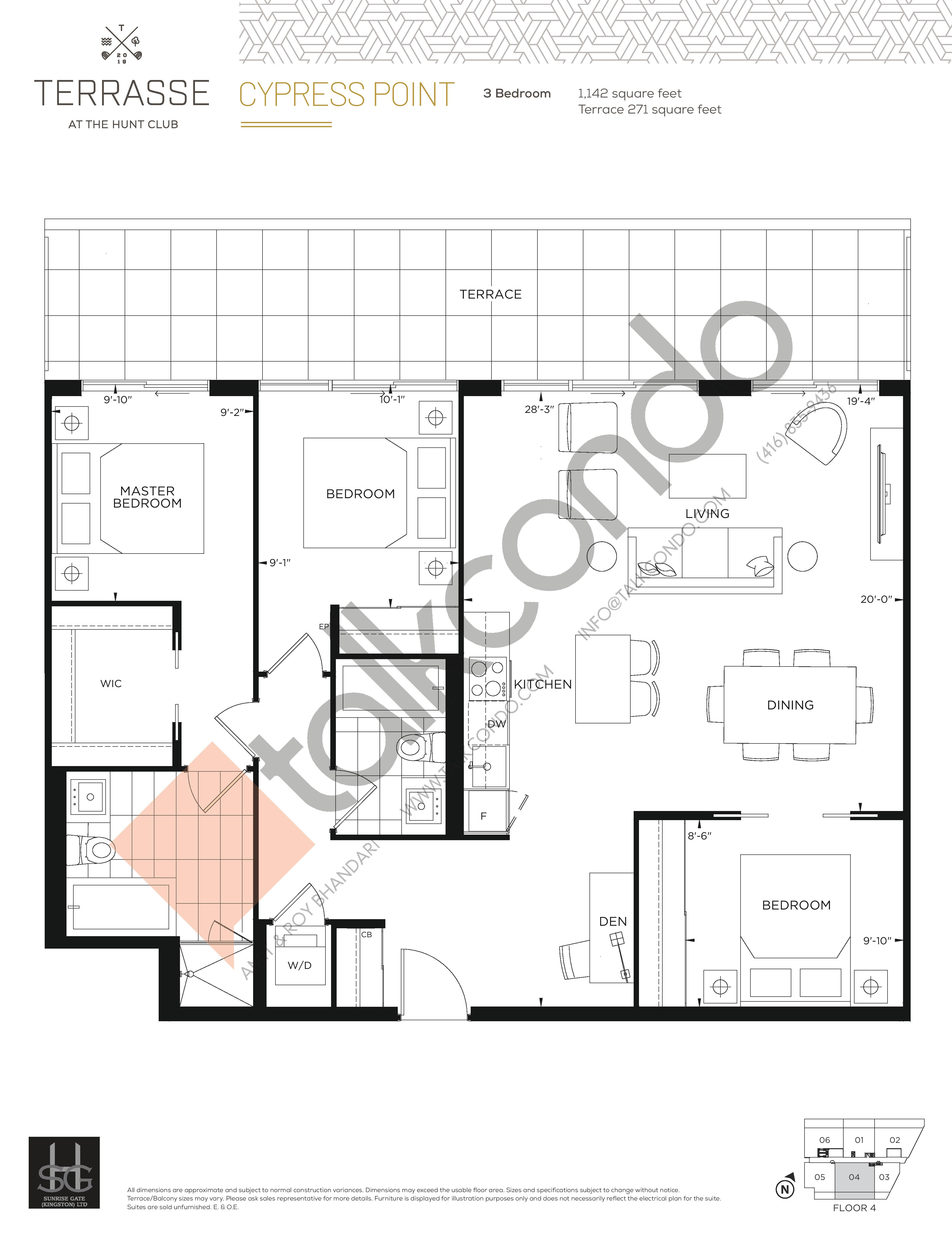 Cypress Point Floor Plan at Terrasse Condos at The Hunt Club - 1142 sq.ft