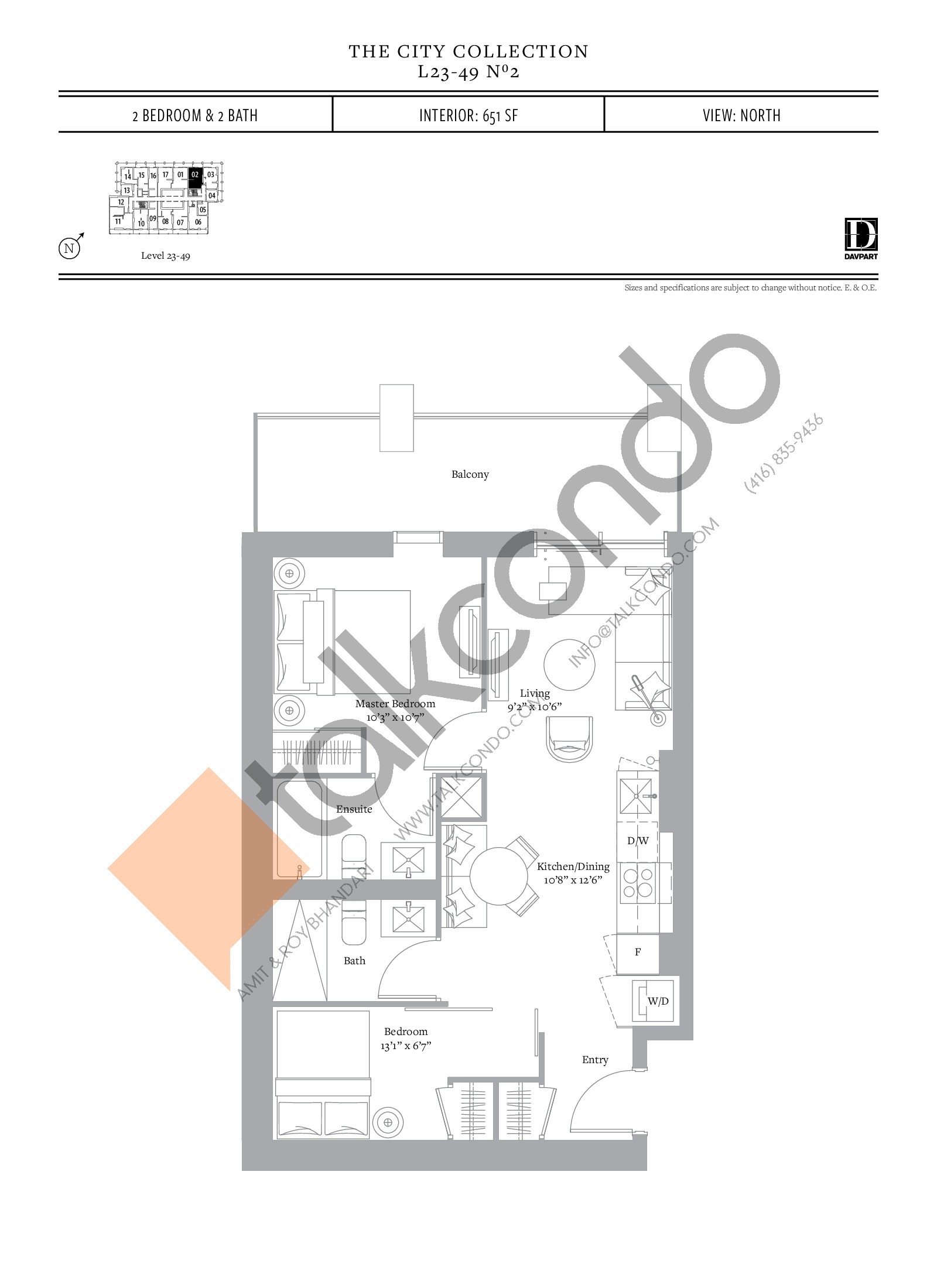 No 2 - The City Collection Floor Plan at The United Bldg. Condos - 651 sq.ft