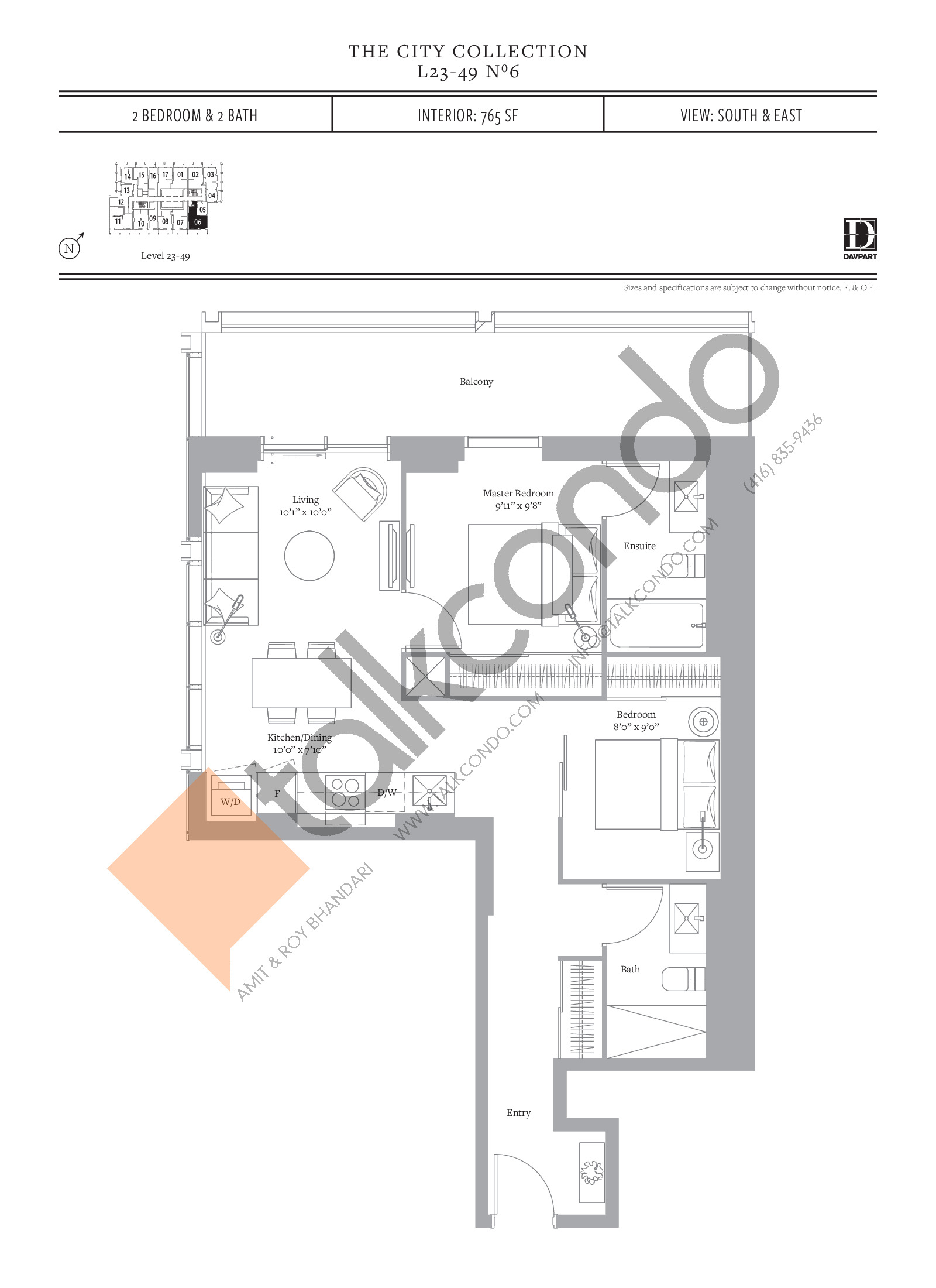 No 6 - The City Collection Floor Plan at The United Bldg. Condos - 765 sq.ft