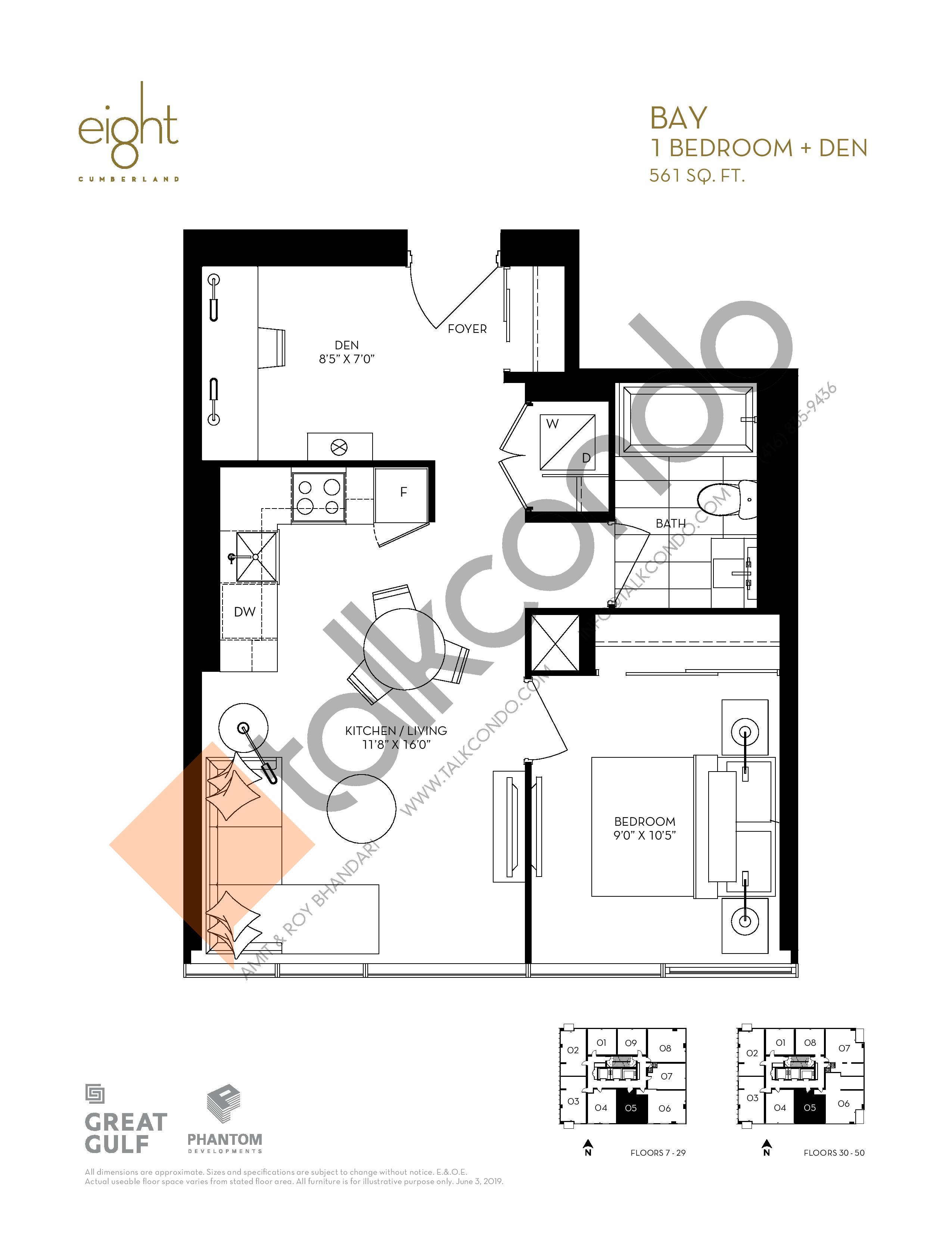 Bay Floor Plan at 8 Cumberland Condos - 561 sq.ft