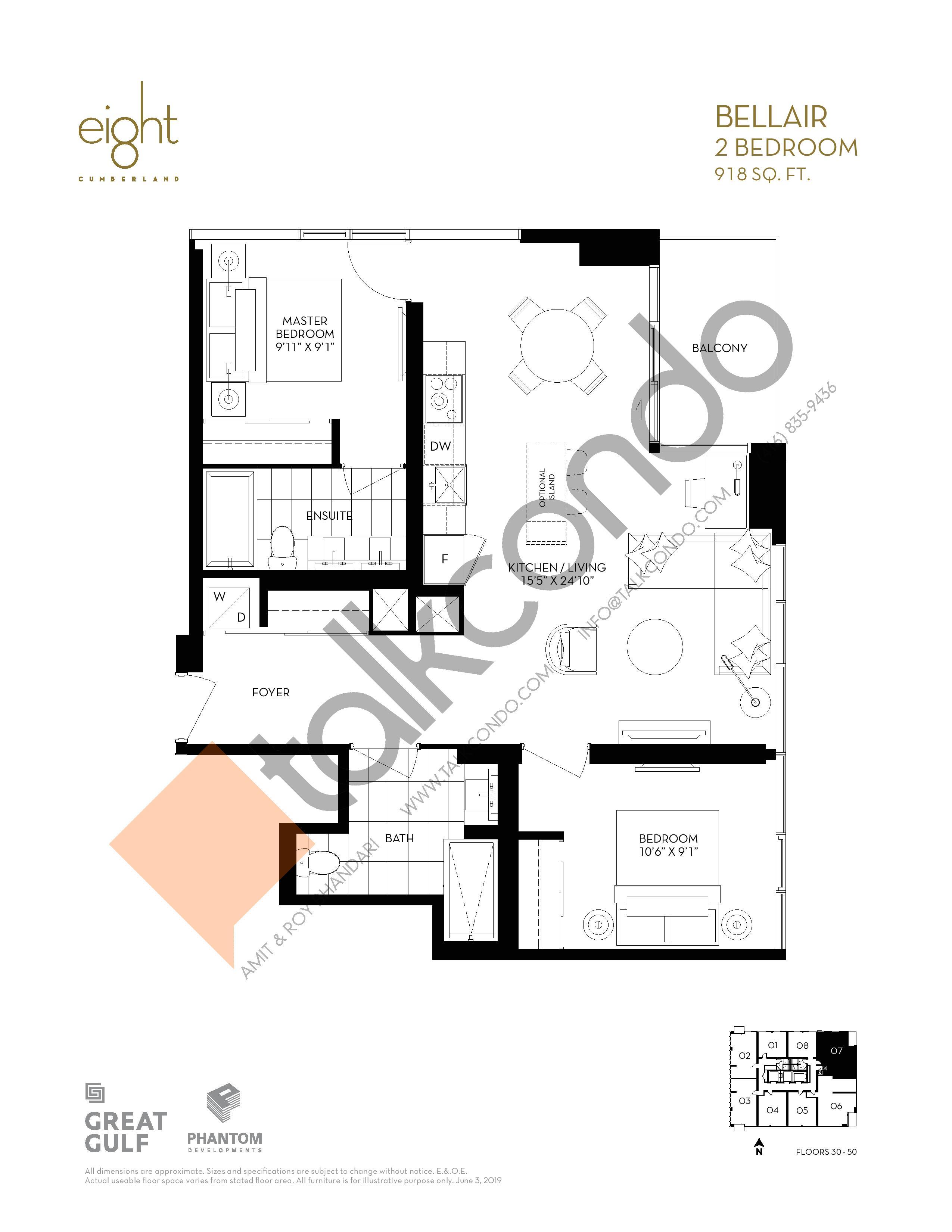 Bellair Floor Plan at 8 Cumberland Condos - 918 sq.ft