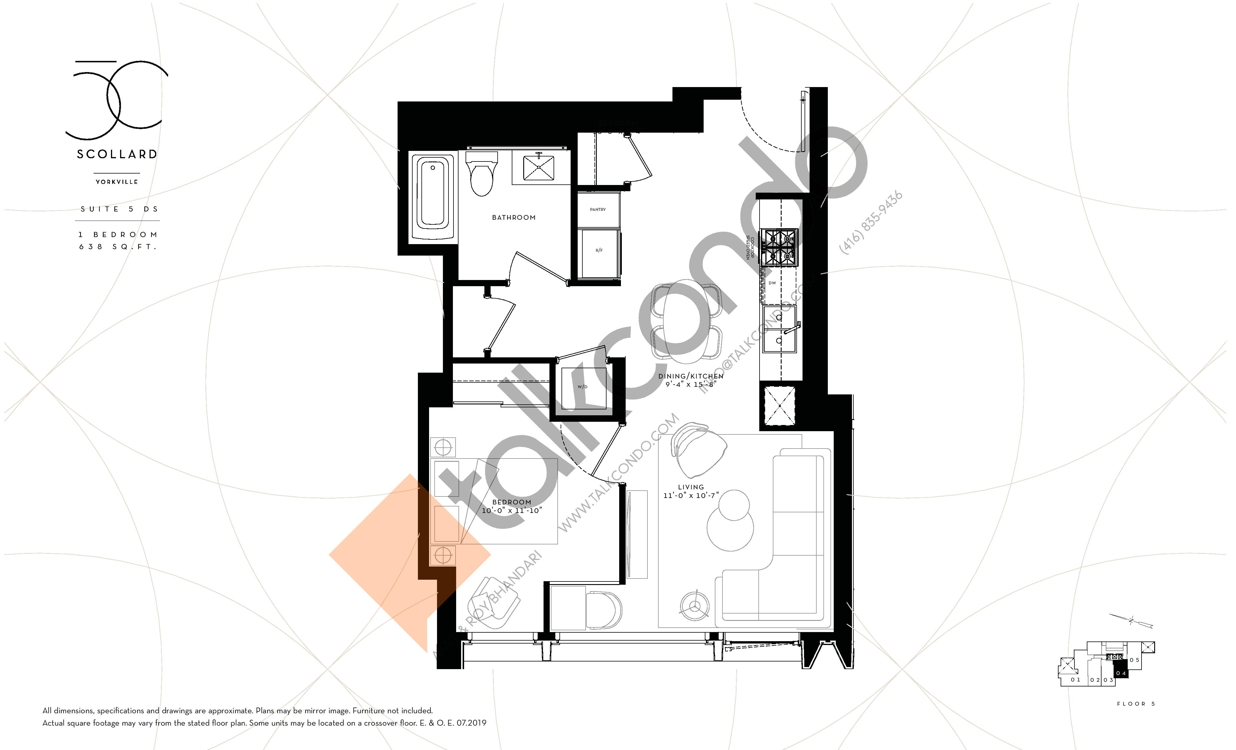 Suite 5 DS Floor Plan at Fifty Scollard Condos - 638 sq.ft