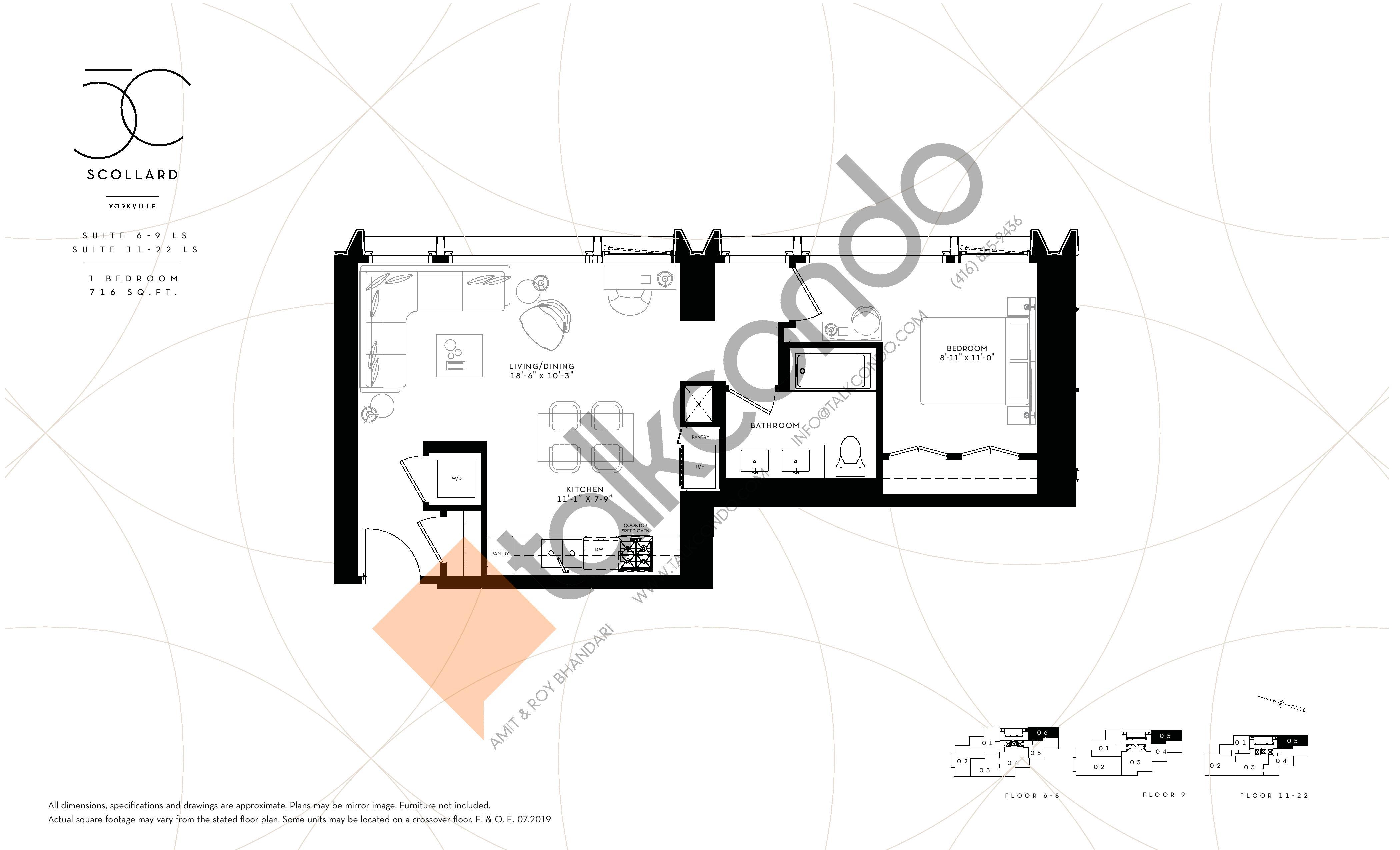Suite 6-9 LS / Suite 11-22 LS Floor Plan at Fifty Scollard Condos - 716 sq.ft