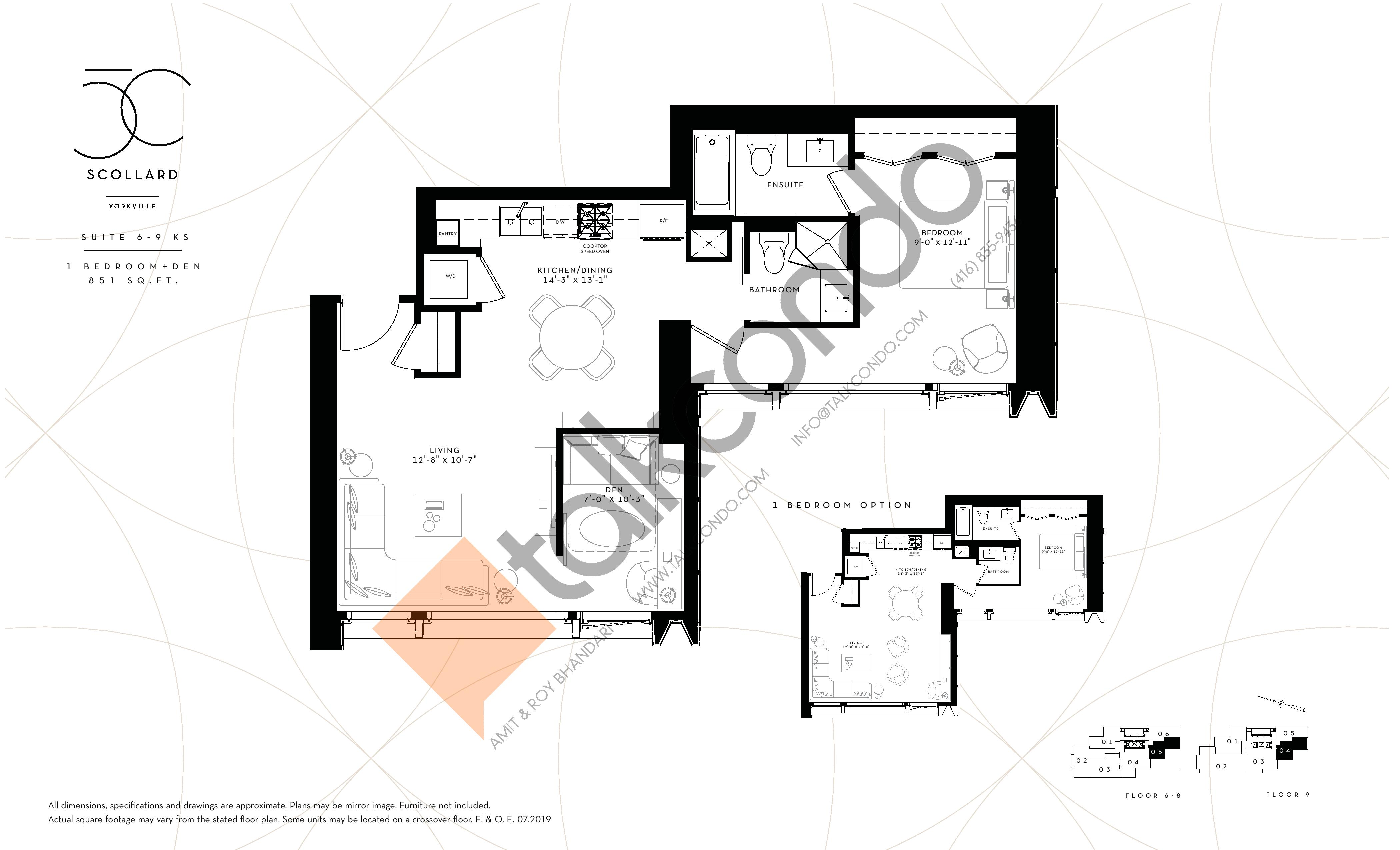 Suite 6-9 KS Floor Plan at Fifty Scollard Condos - 851 sq.ft