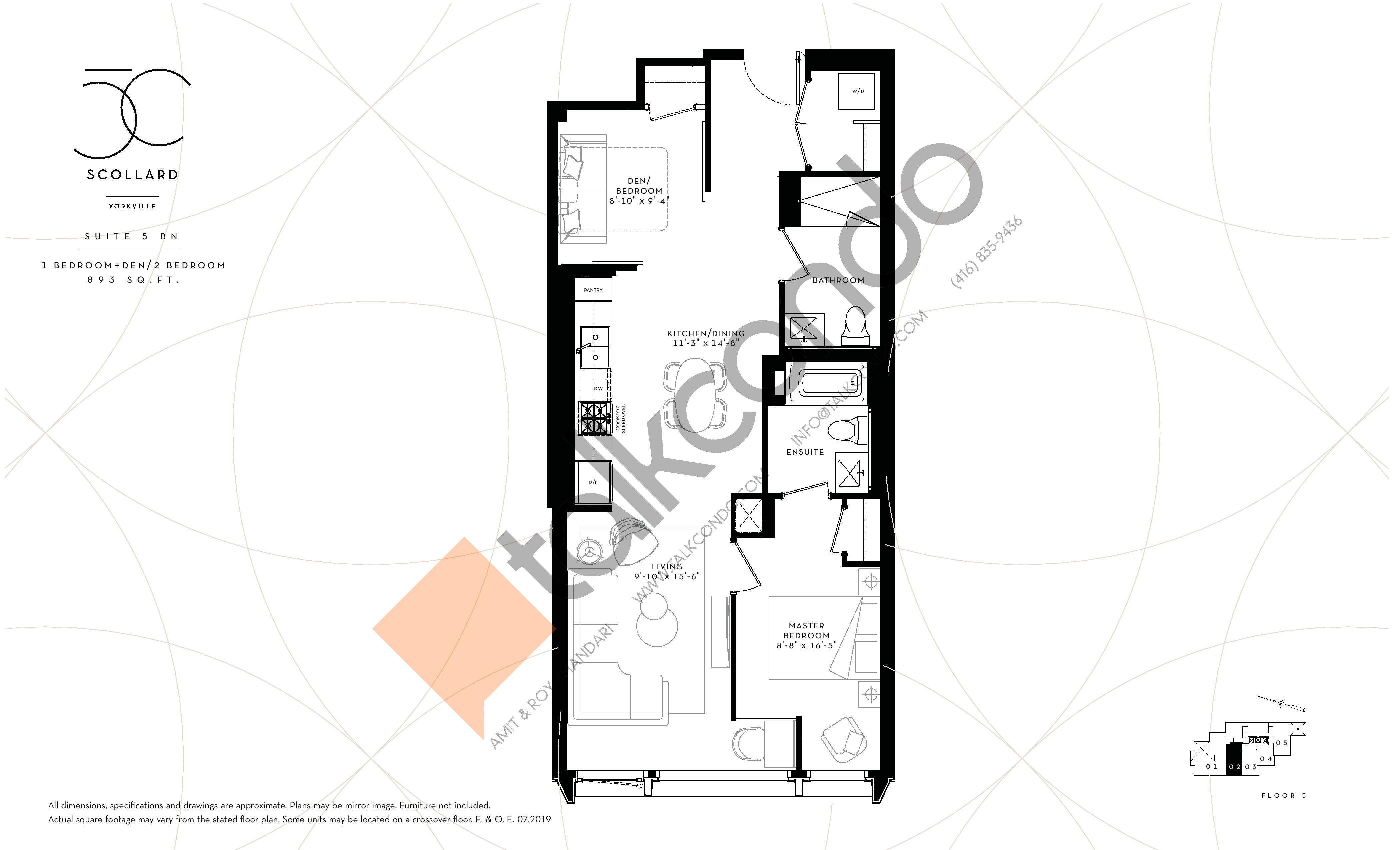 Suite 5 BN Floor Plan at Fifty Scollard Condos - 893 sq.ft