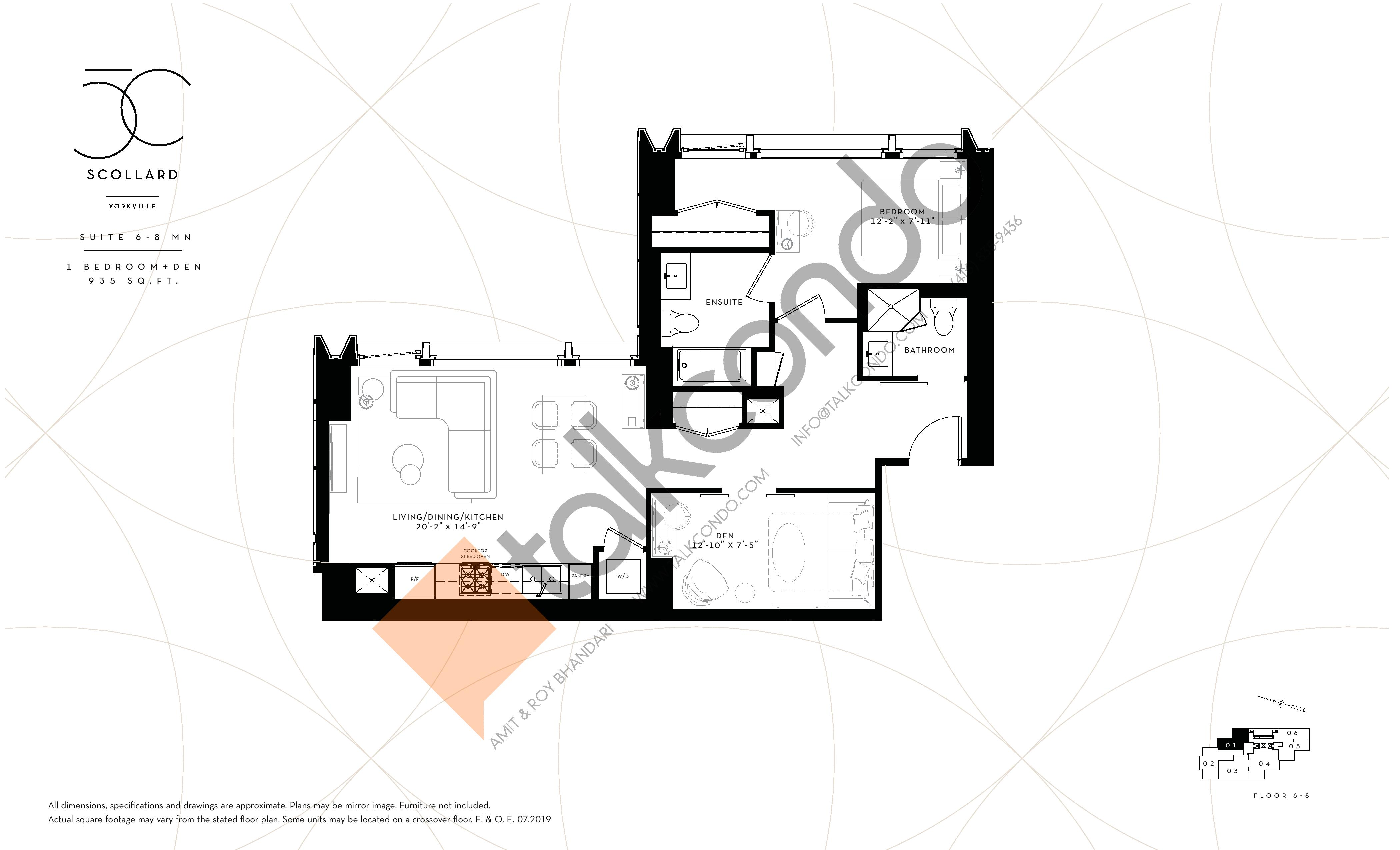 Suite 6-8 MN Floor Plan at Fifty Scollard Condos - 935 sq.ft