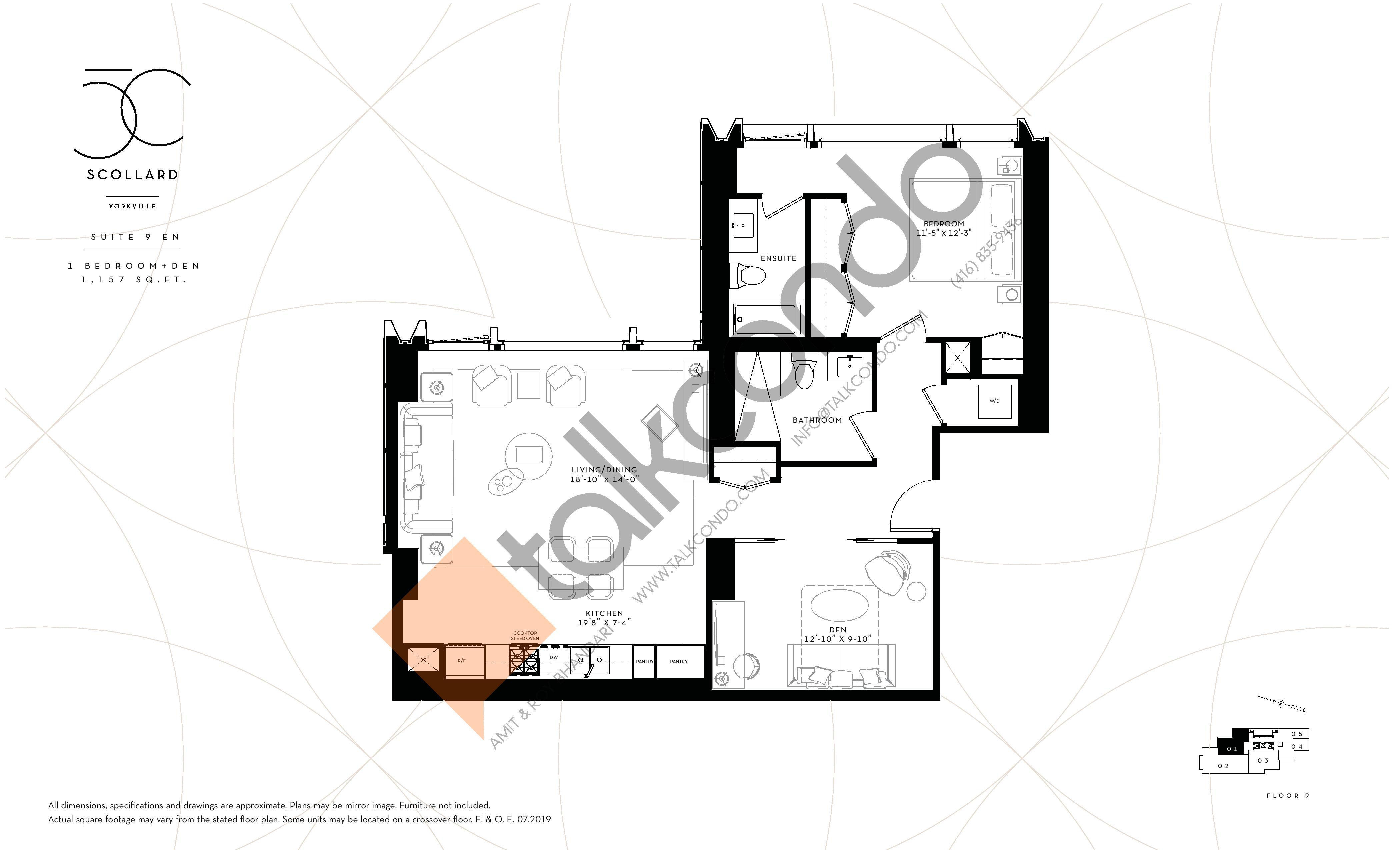 Suite 9 EN Floor Plan at Fifty Scollard Condos - 1157 sq.ft