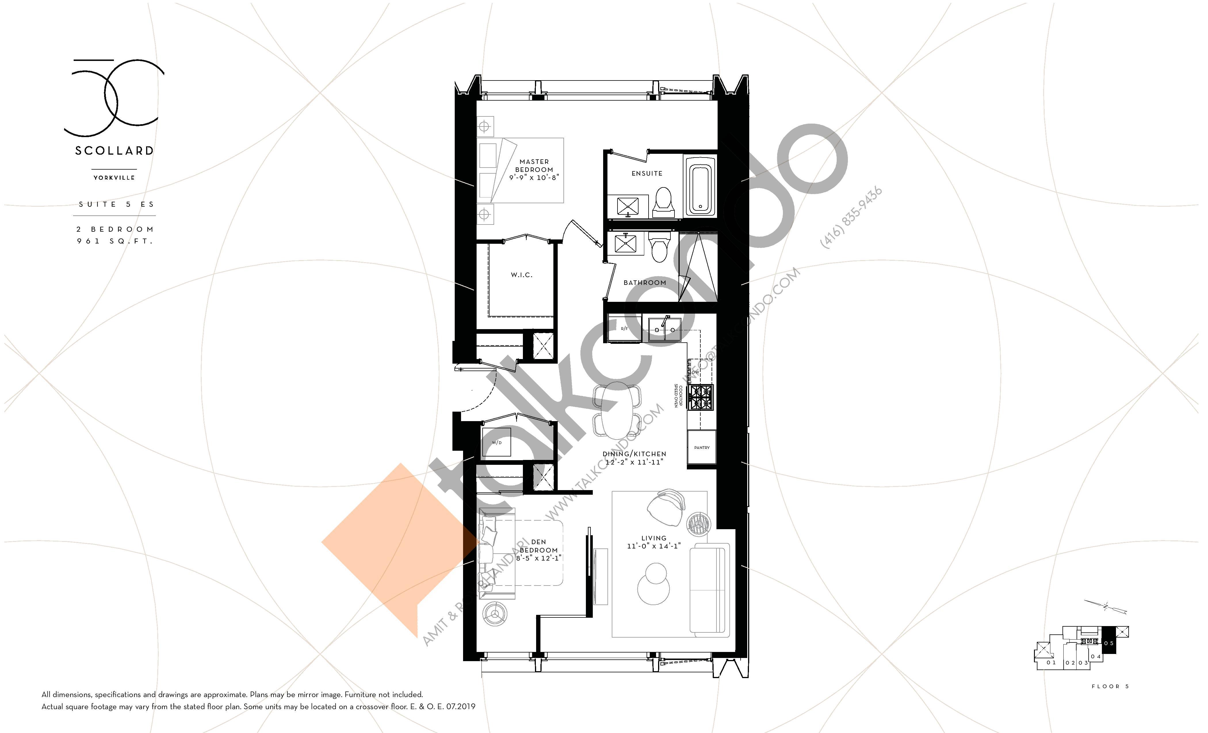 Suite 5 ES Floor Plan at Fifty Scollard Condos - 961 sq.ft