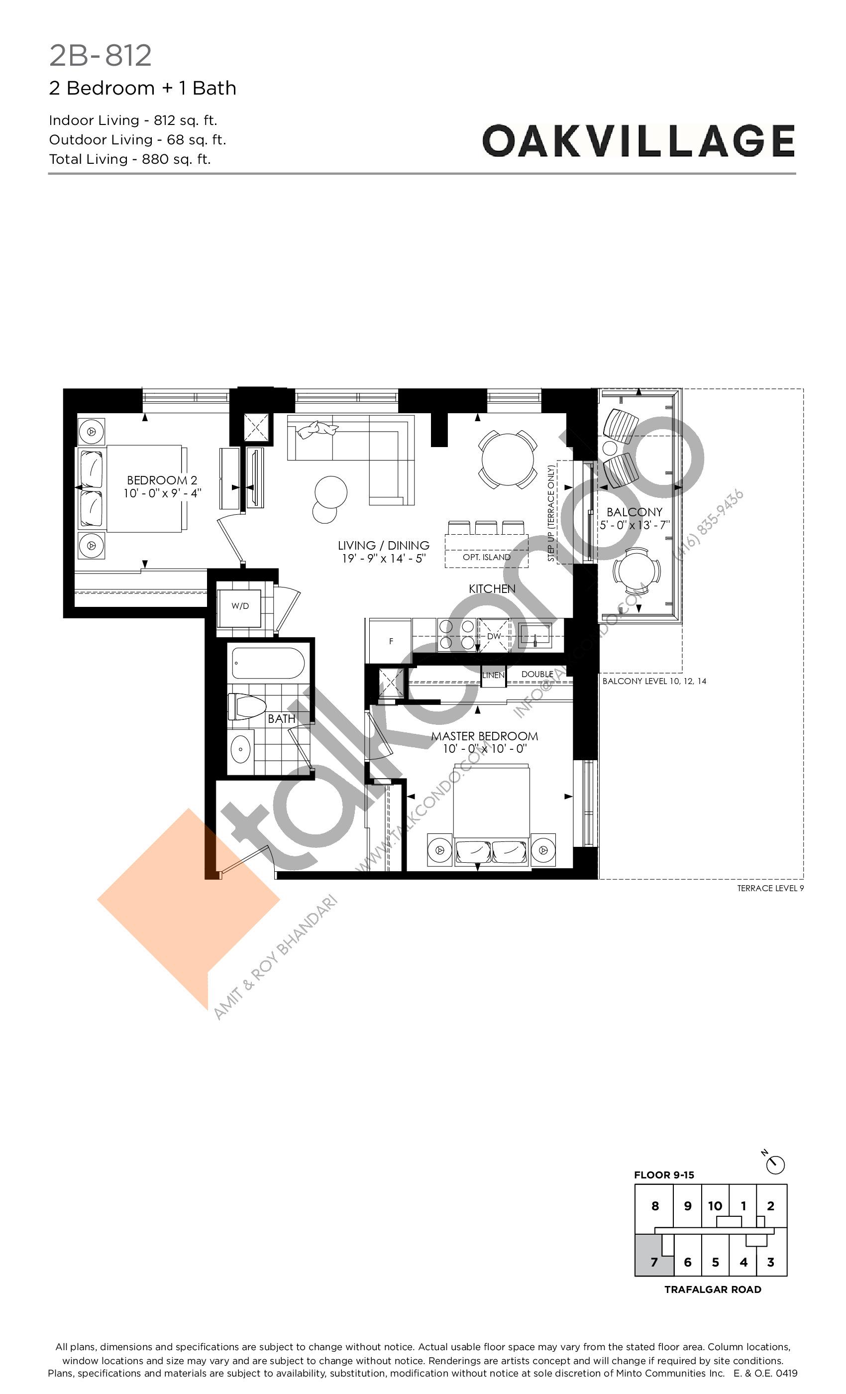 2B-812 Floor Plan at Minto Oakvillage Condos 1 - 812 sq.ft