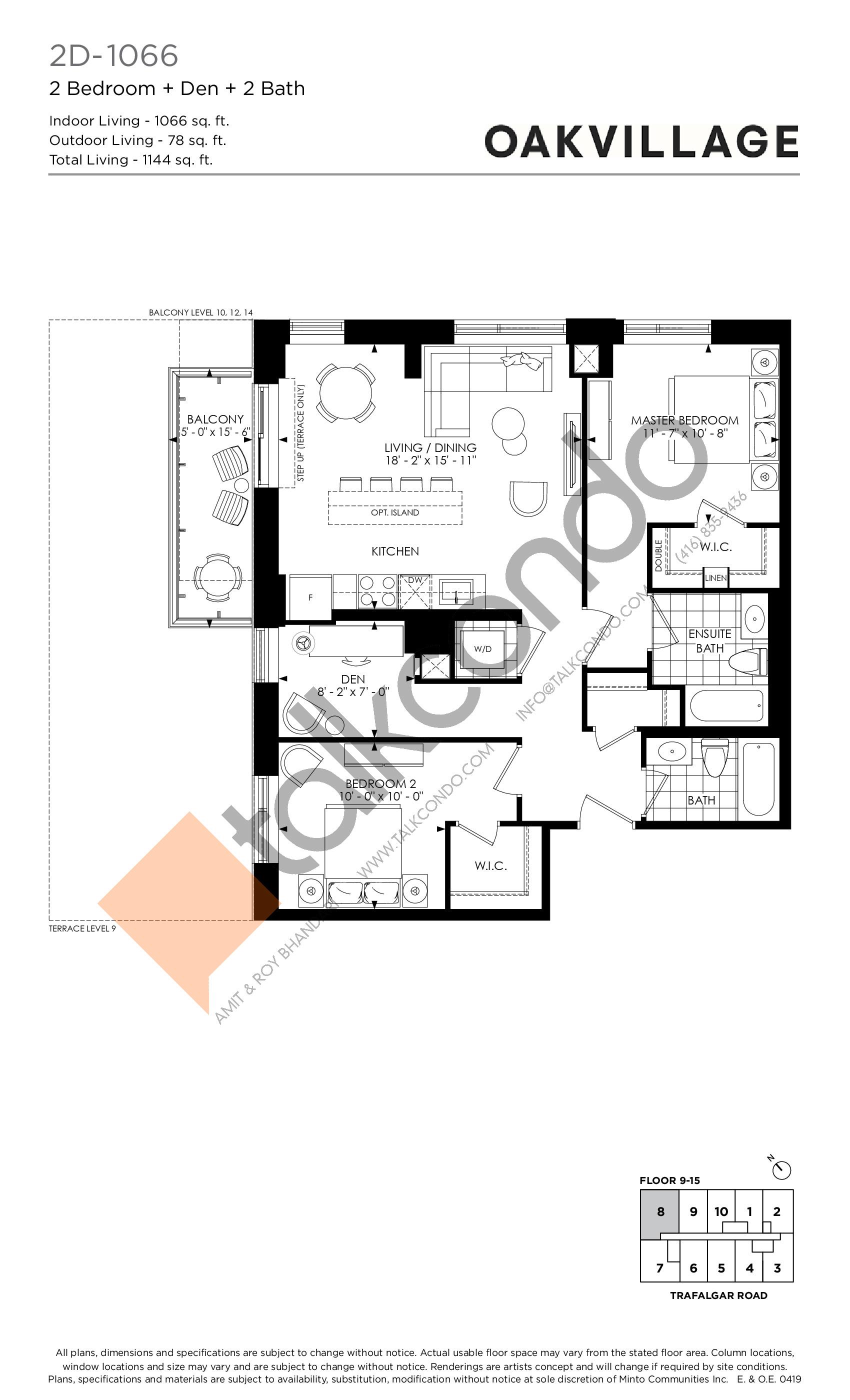 2D-1066 Floor Plan at Minto Oakvillage Condos 1 - 1066 sq.ft