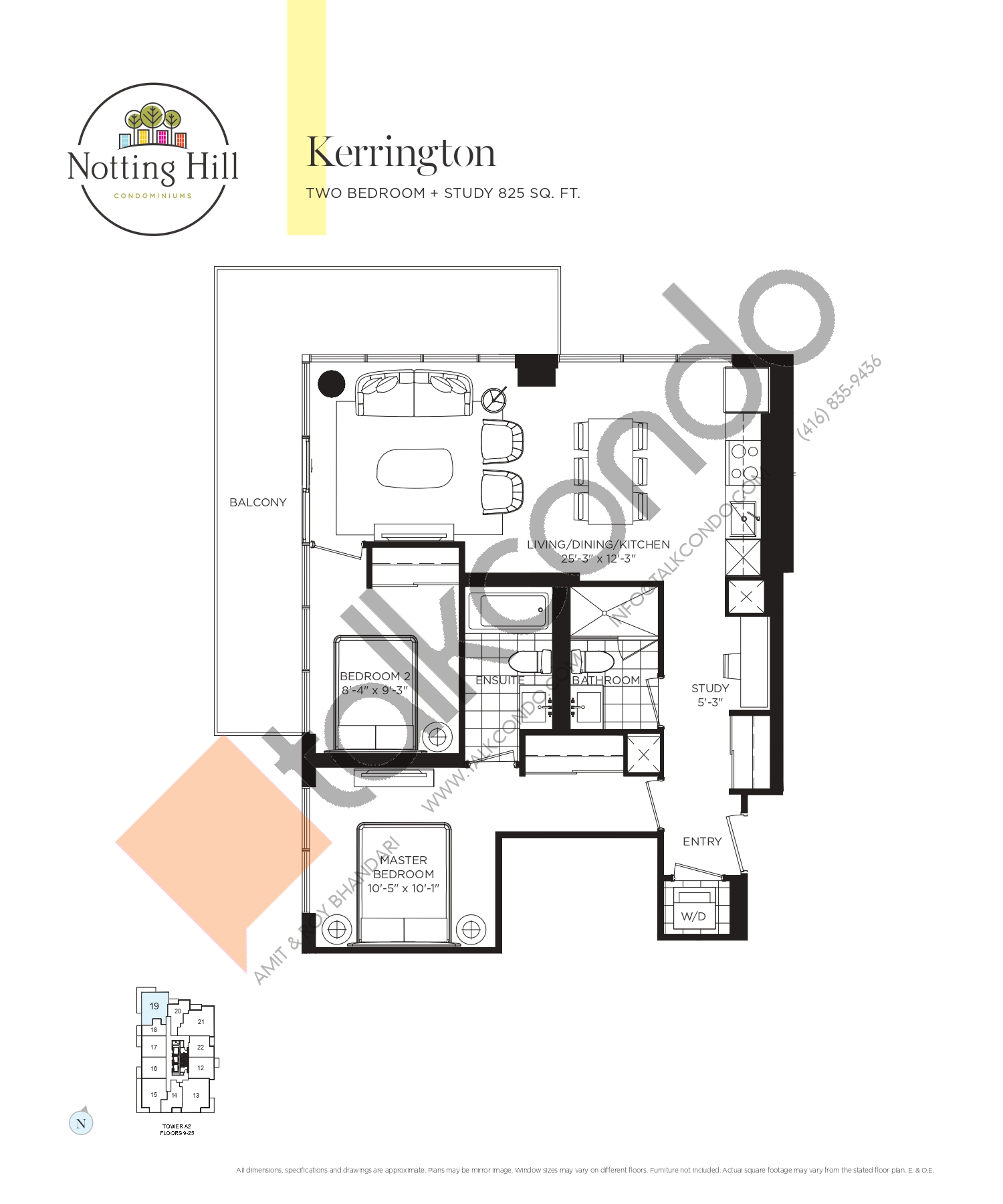 Kerrington Floor Plan at Notting Hill Phase 2 Condos - 825 sq.ft