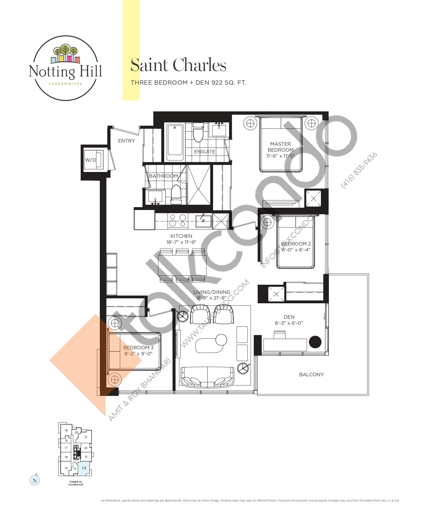 Saint Charles Floor Plan at Notting Hill Phase 2 Condos - 922 sq.ft
