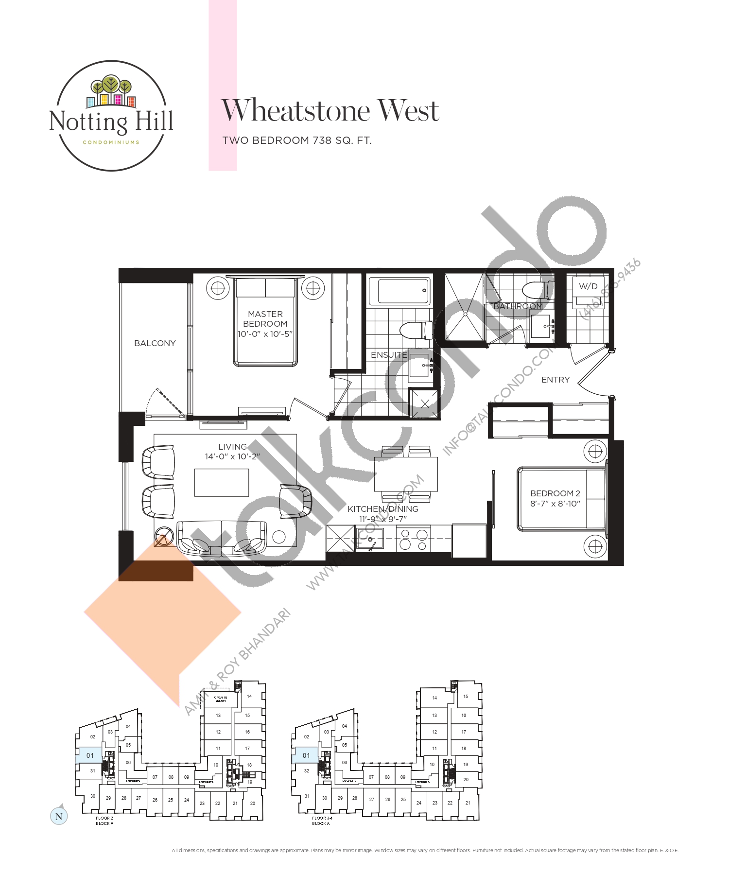 Wheatstone West Floor Plan at Notting Hill Phase 2 Condos - 738 sq.ft