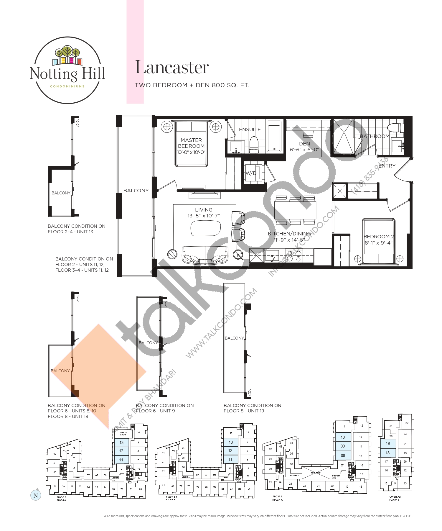 Lancaster Floor Plan at Notting Hill Phase 2 Condos - 800 sq.ft
