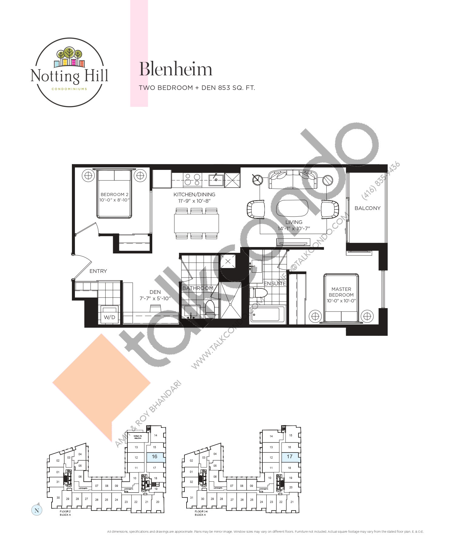 Blenheim Floor Plan at Notting Hill Phase 2 Condos - 853 sq.ft