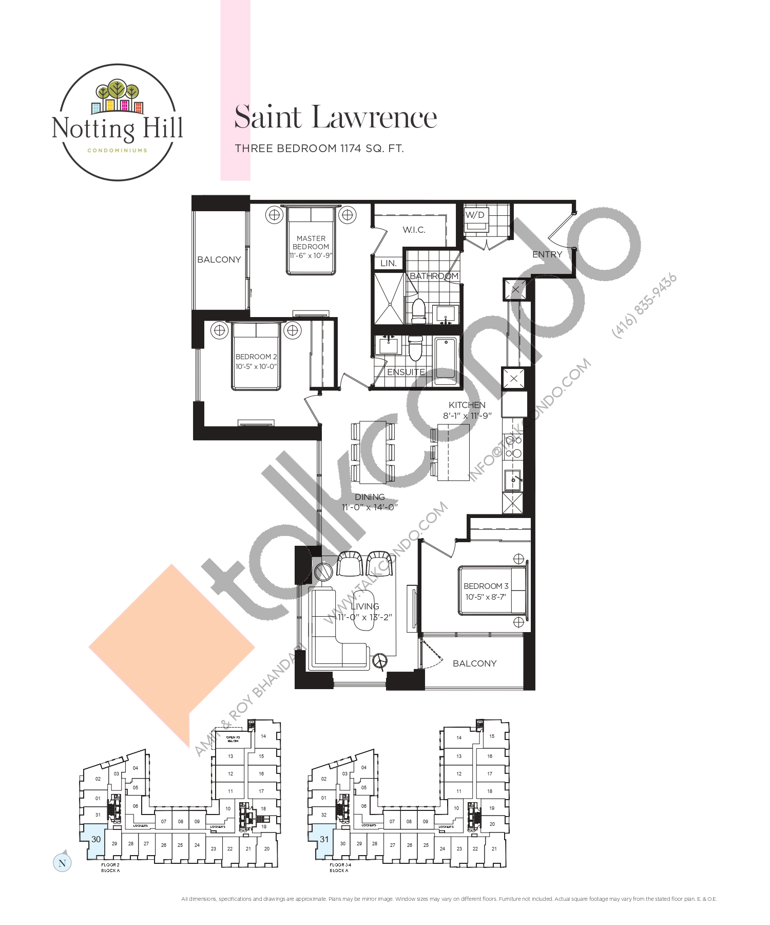 Saint Lawrence Floor Plan at Notting Hill Phase 2 Condos - 1174 sq.ft