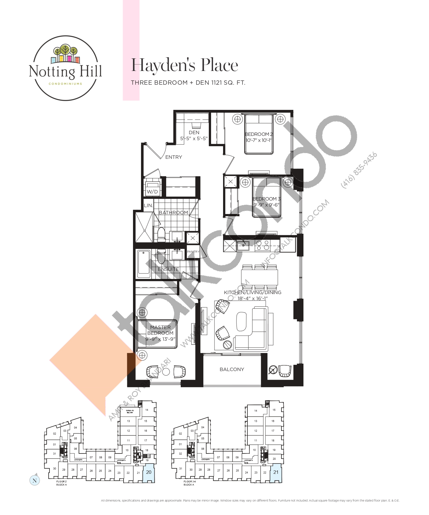 Hayden's Place Floor Plan at Notting Hill Phase 2 Condos - 1121 sq.ft