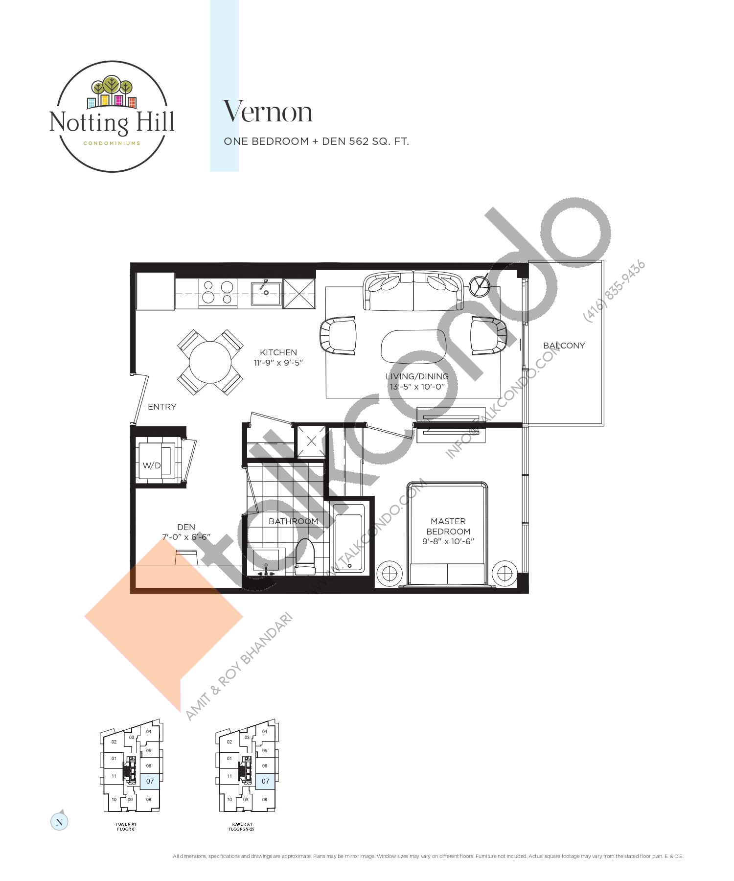 Vernon Floor Plan at Notting Hill Phase 2 Condos - 562 sq.ft