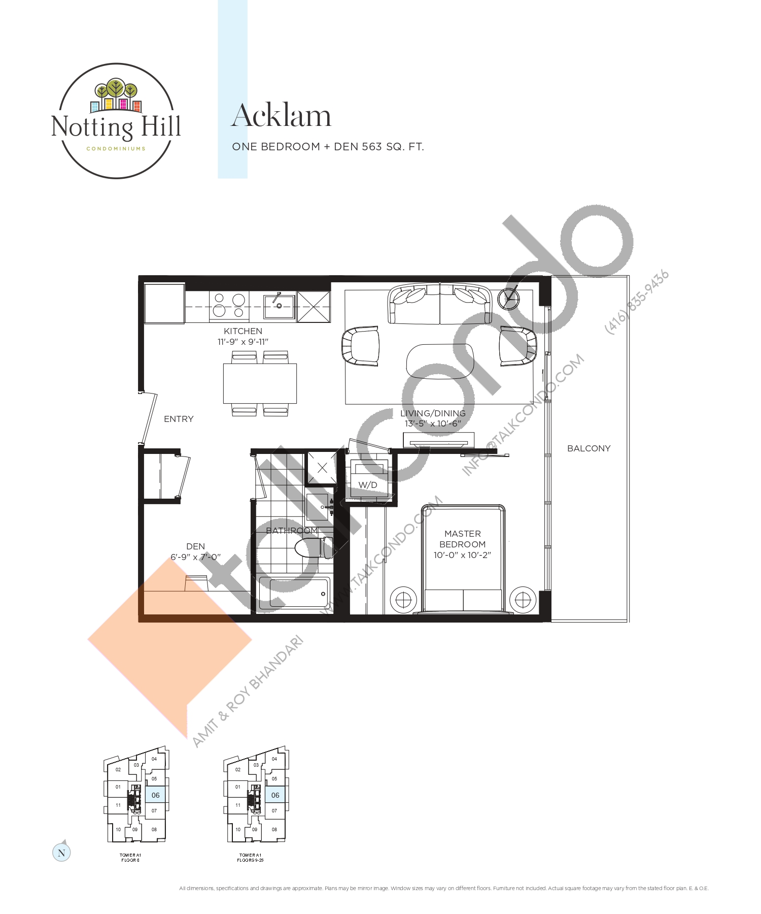 Acklam Floor Plan at Notting Hill Phase 2 Condos - 563 sq.ft