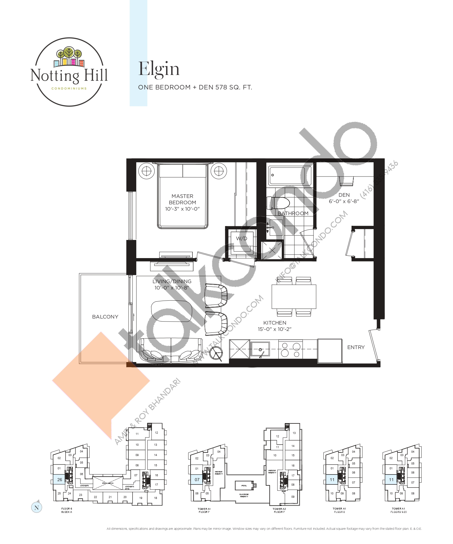 Elgin Floor Plan at Notting Hill Phase 2 Condos - 578 sq.ft