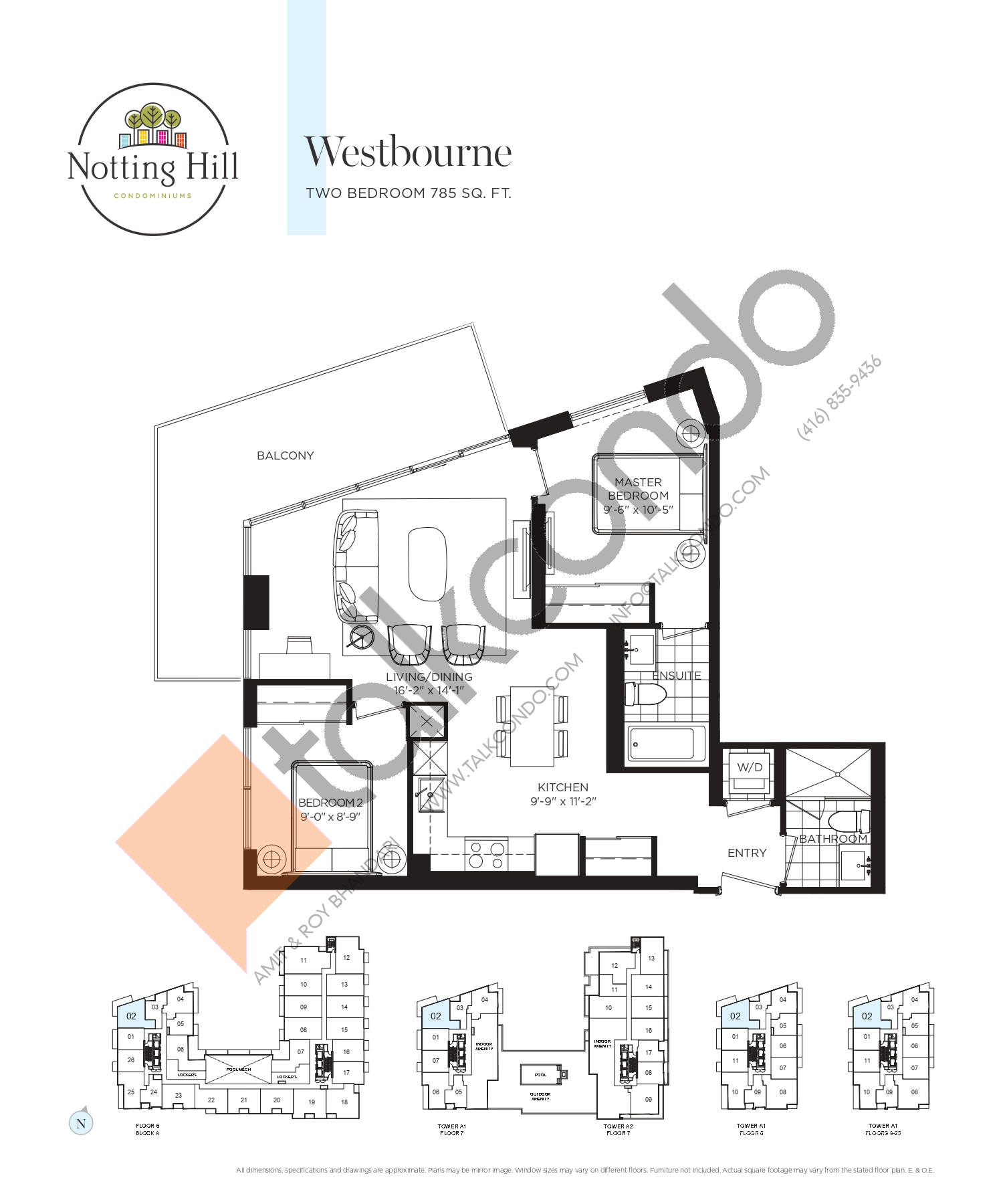 Westbourne Floor Plan at Notting Hill Phase 2 Condos - 785 sq.ft
