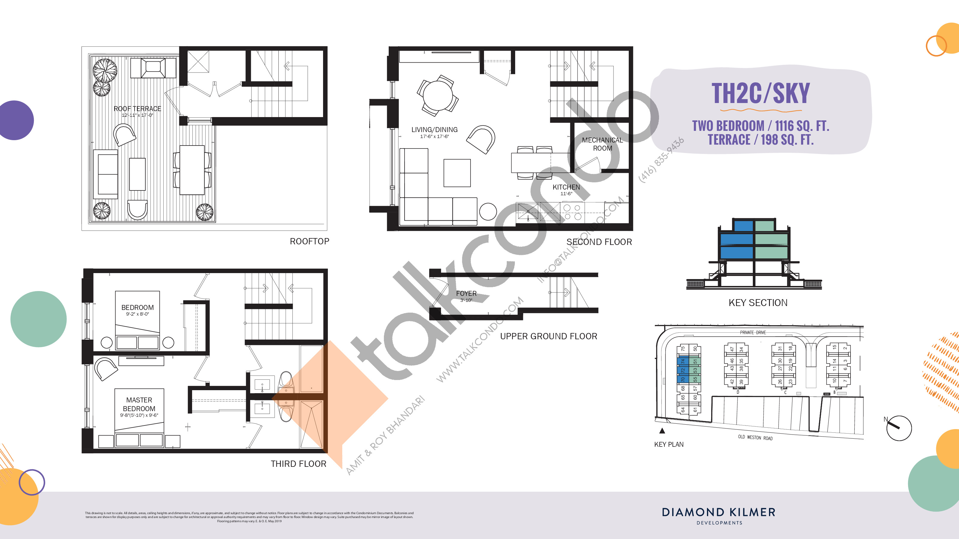 TH2C/Sky Floor Plan at Reunion Crossing Condos & Urban Towns - 1116 sq.ft