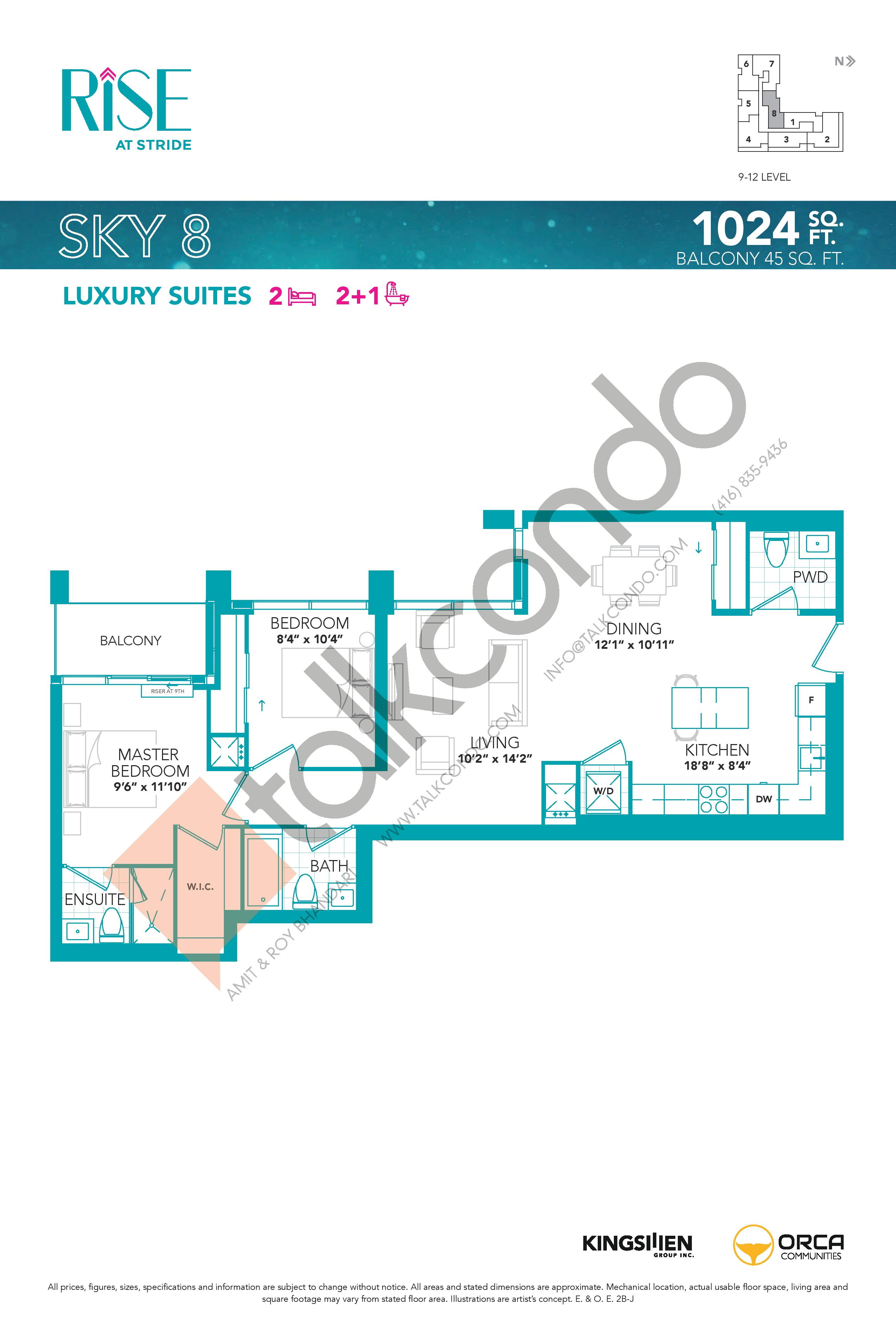 Sky 8 Floor Plan at Rise at Stride Condos - 1024 sq.ft
