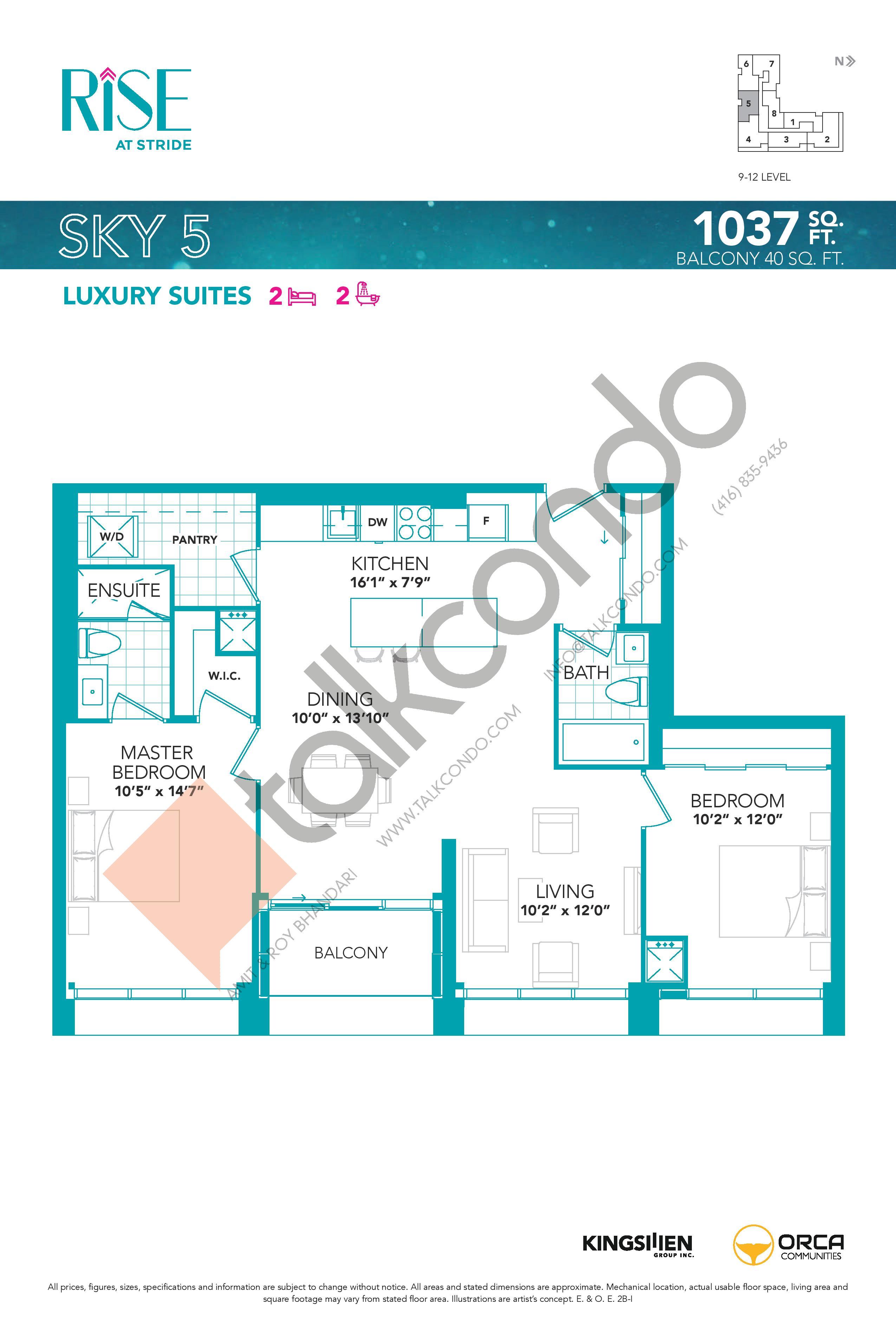 Sky 5 Floor Plan at Rise at Stride Condos - 1037 sq.ft