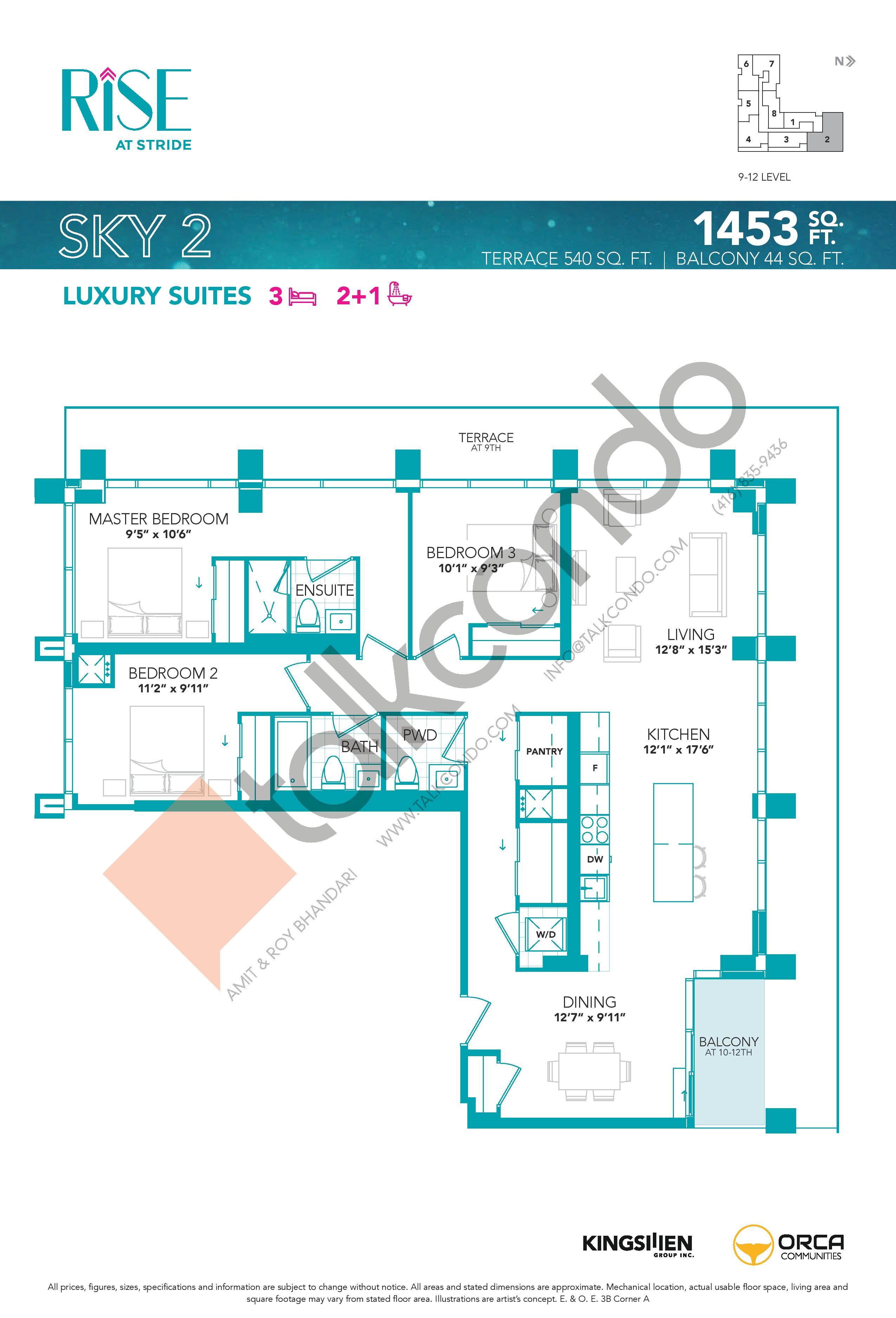 Sky 2 Floor Plan at Rise at Stride Condos - 1453 sq.ft