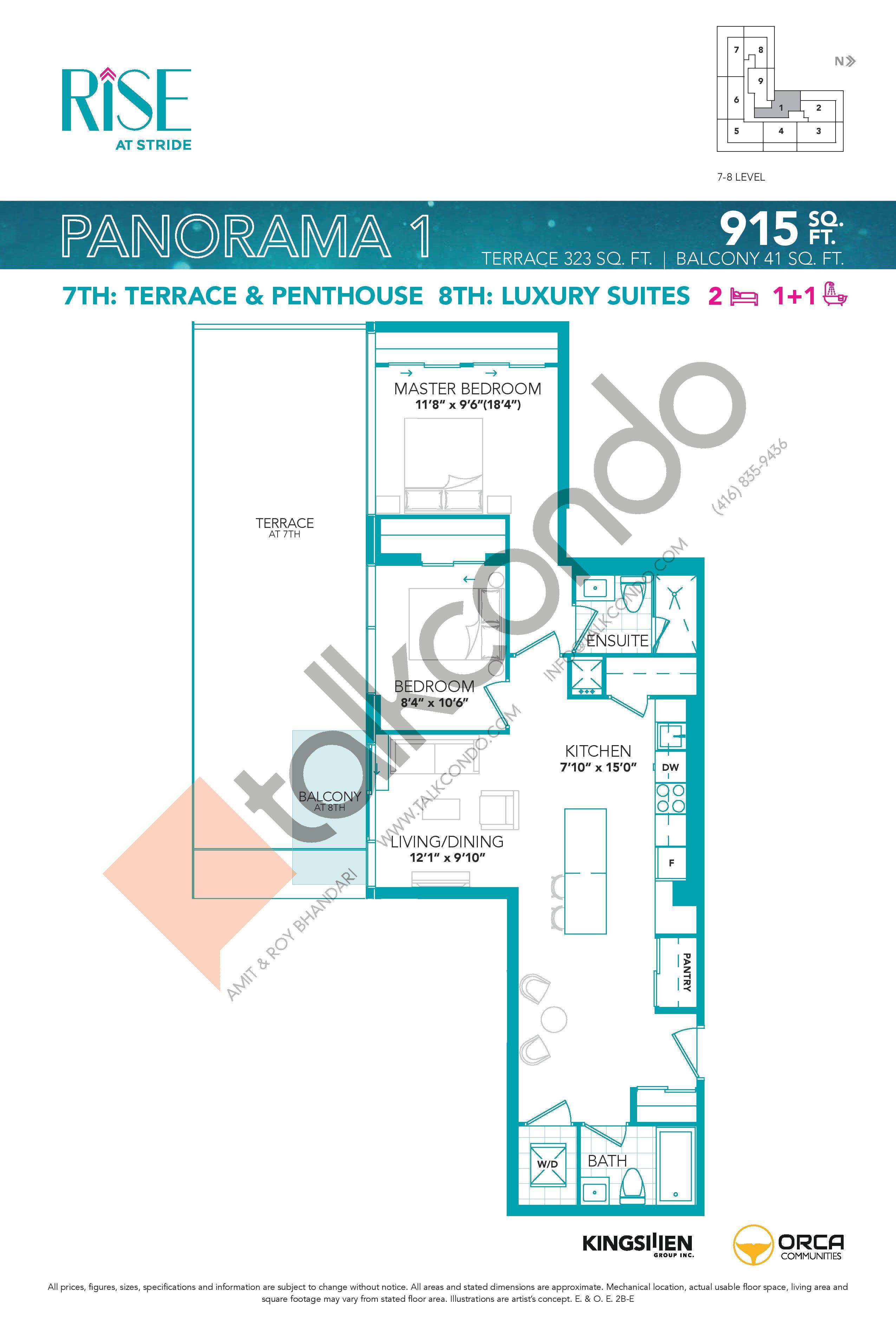 Panorama 1 Floor Plan at Rise at Stride Condos - 915 sq.ft