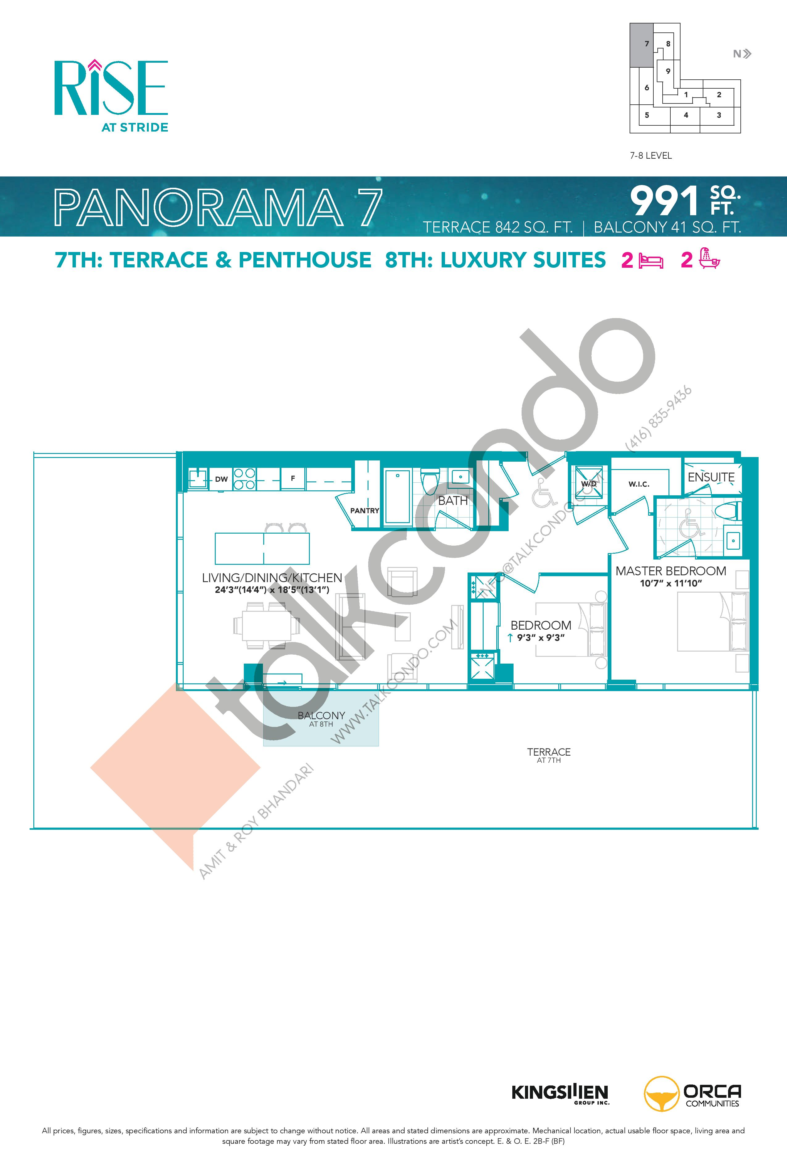 Panorama 7 Floor Plan at Rise at Stride Condos - 991 sq.ft
