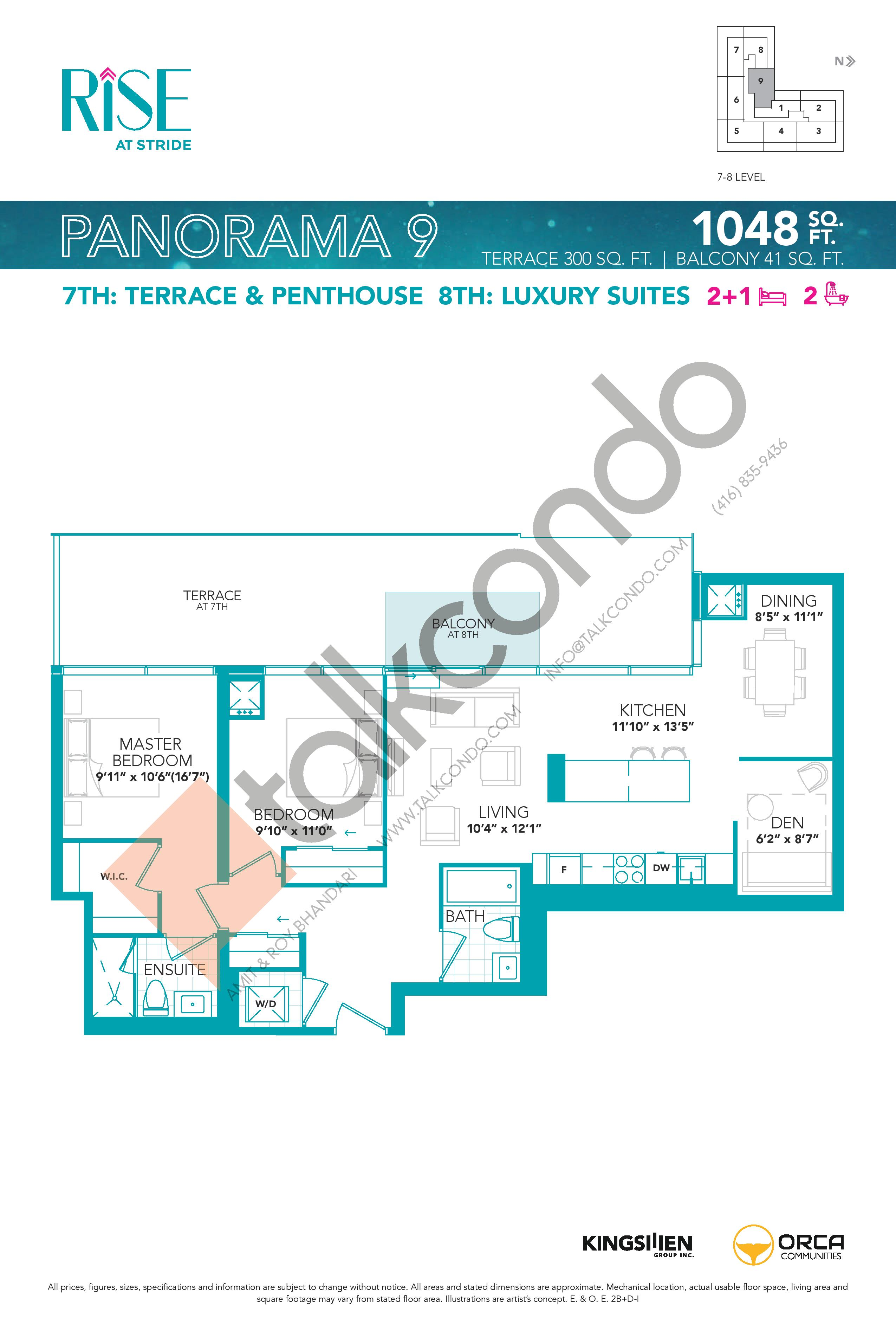 Panorama 9 Floor Plan at Rise at Stride Condos - 1048 sq.ft