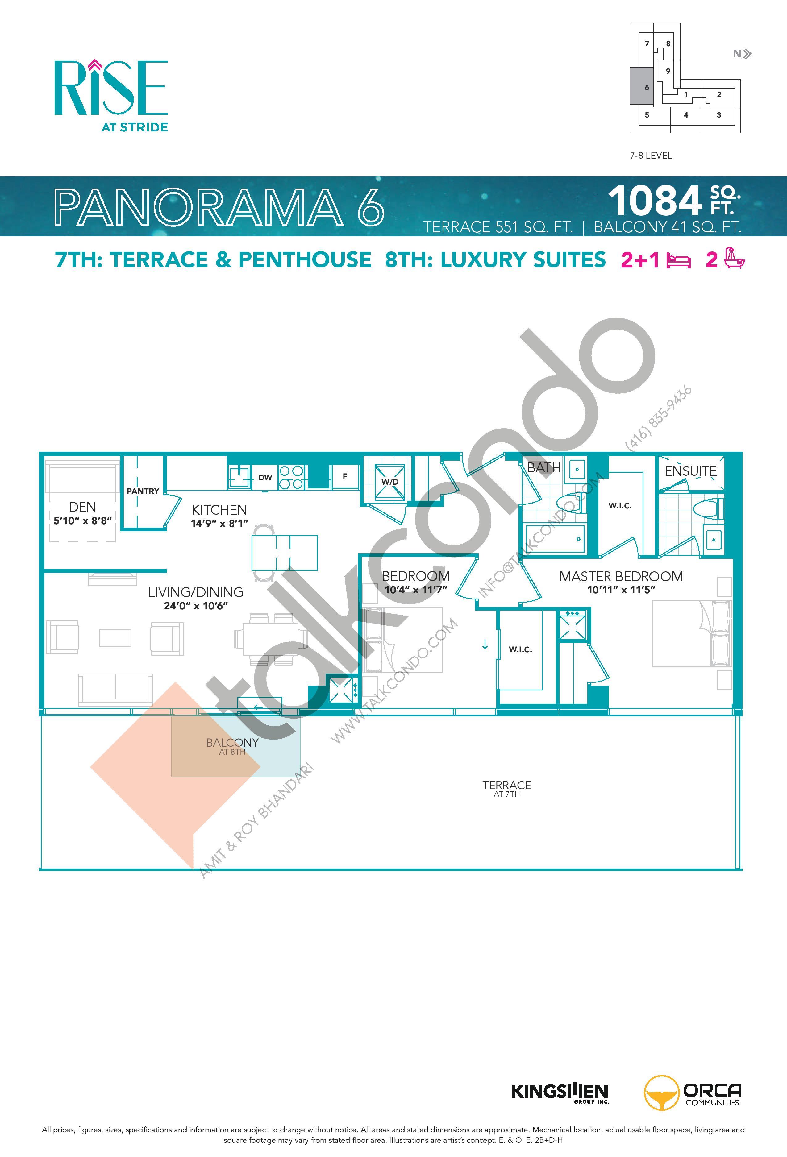 Panorama 6 Floor Plan at Rise at Stride Condos - 1084 sq.ft