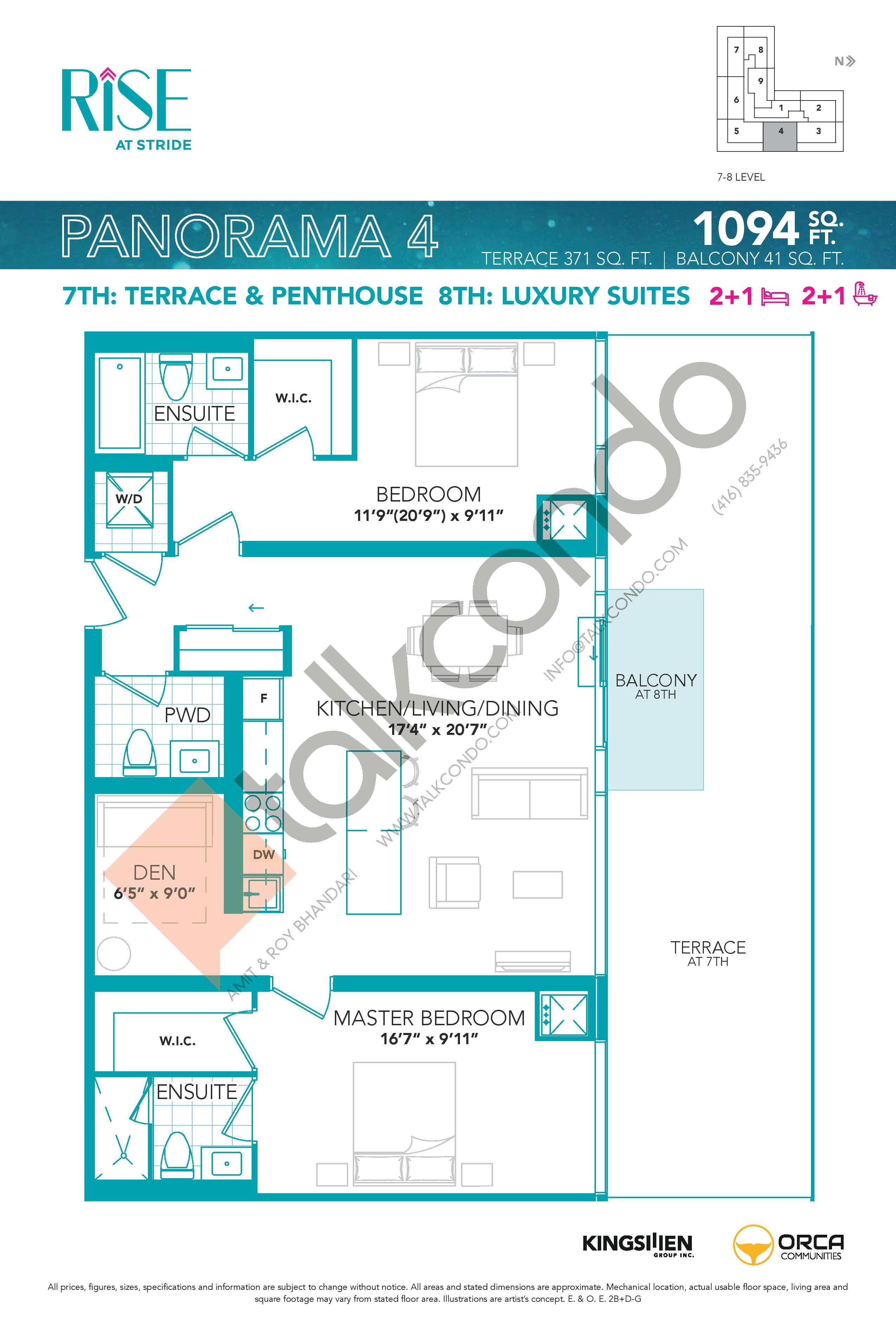 Panorama 4 Floor Plan at Rise at Stride Condos - 1094 sq.ft
